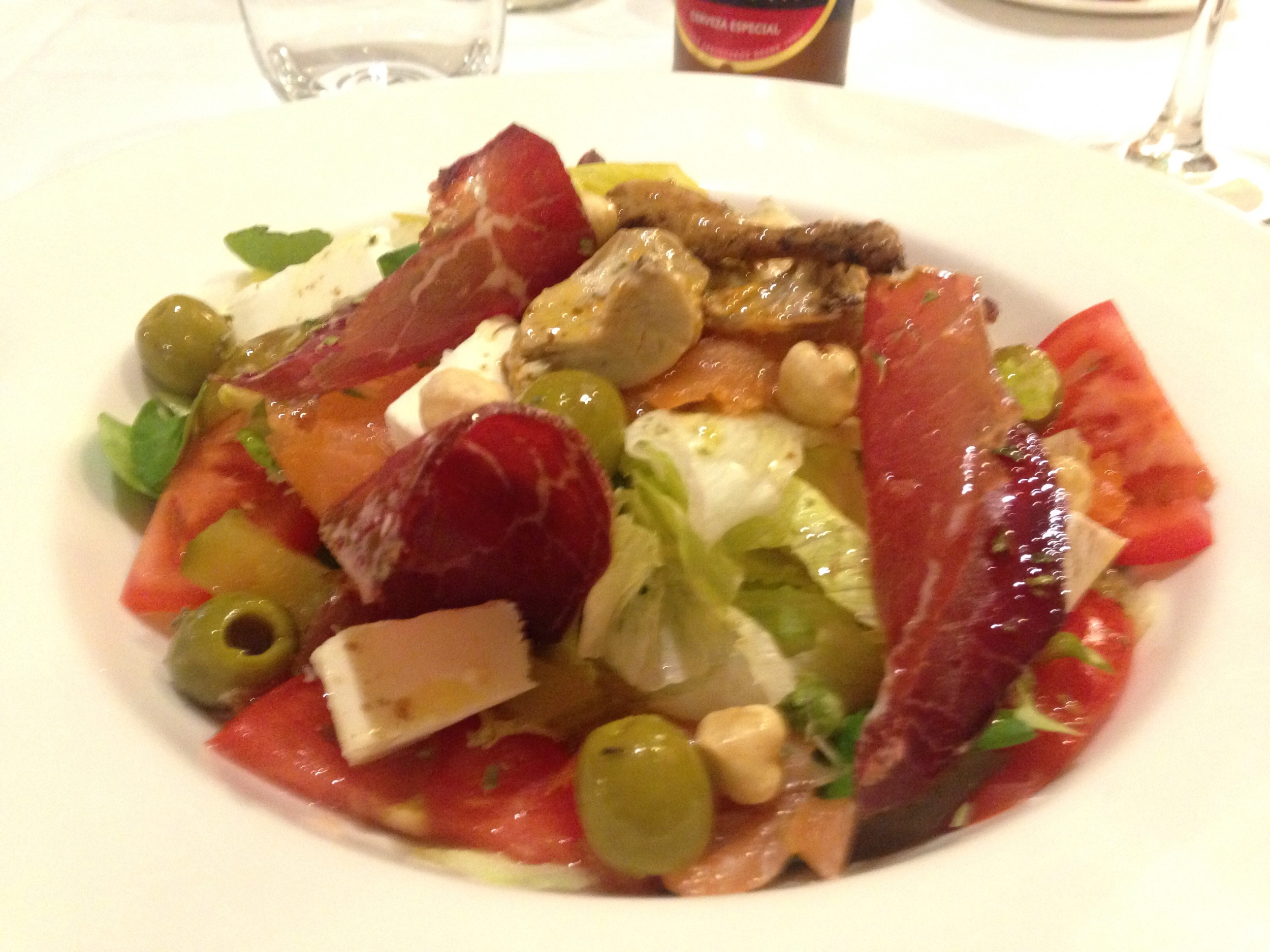 Ensalada mixta with local cheese, lomo, olives and more.