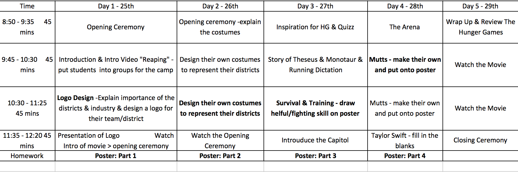 Hunger Games English Camp Plan