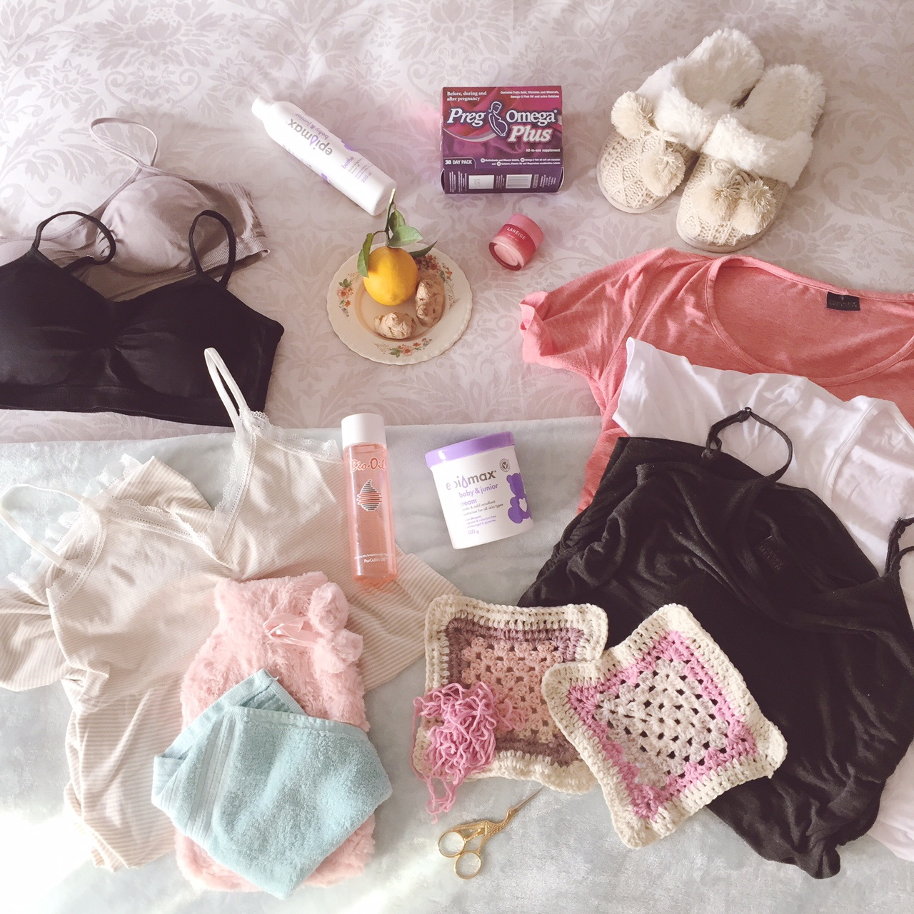 the items that helped make  my pregnancy happy &  comfortable so far