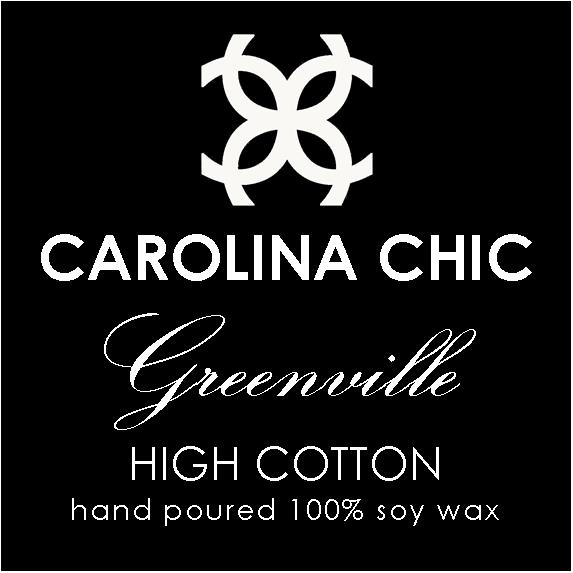 """GREENVILLE /HIGH COTTON  Situated in the heart of the South Carolina Upstate, GREENVILLE is known as the """"Textile Center of the World"""" and offers great shopping, entertainment, historic, scenic and family attractions. A nationally acclaimed downtown features tree-shaded streetscapes, public artwork, parks, shops, a variety of annual festivals and a 60 ft. waterfall.  On a more personal note, my husband was born and raised in Greenville and after many years away, we are proud to make Greenville our family home and the home of Carolina Chic.  A nod to Greenville's textile heritage and a tribute to the historic textile mills and the mill workers who wove the fabric of many generations, GREENVILLE - High Cotton - has a wonderfully fresh and crisp scent of sun-dried cotton sheets with subtle notes of ripe, juicy fruit."""