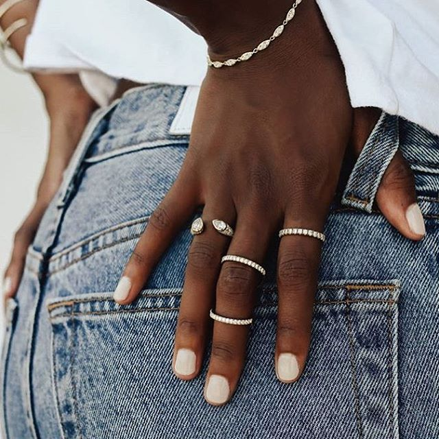Awash in whites...acid-wash denim white diamonds white gold @carbonandhyde 💎⚡️
