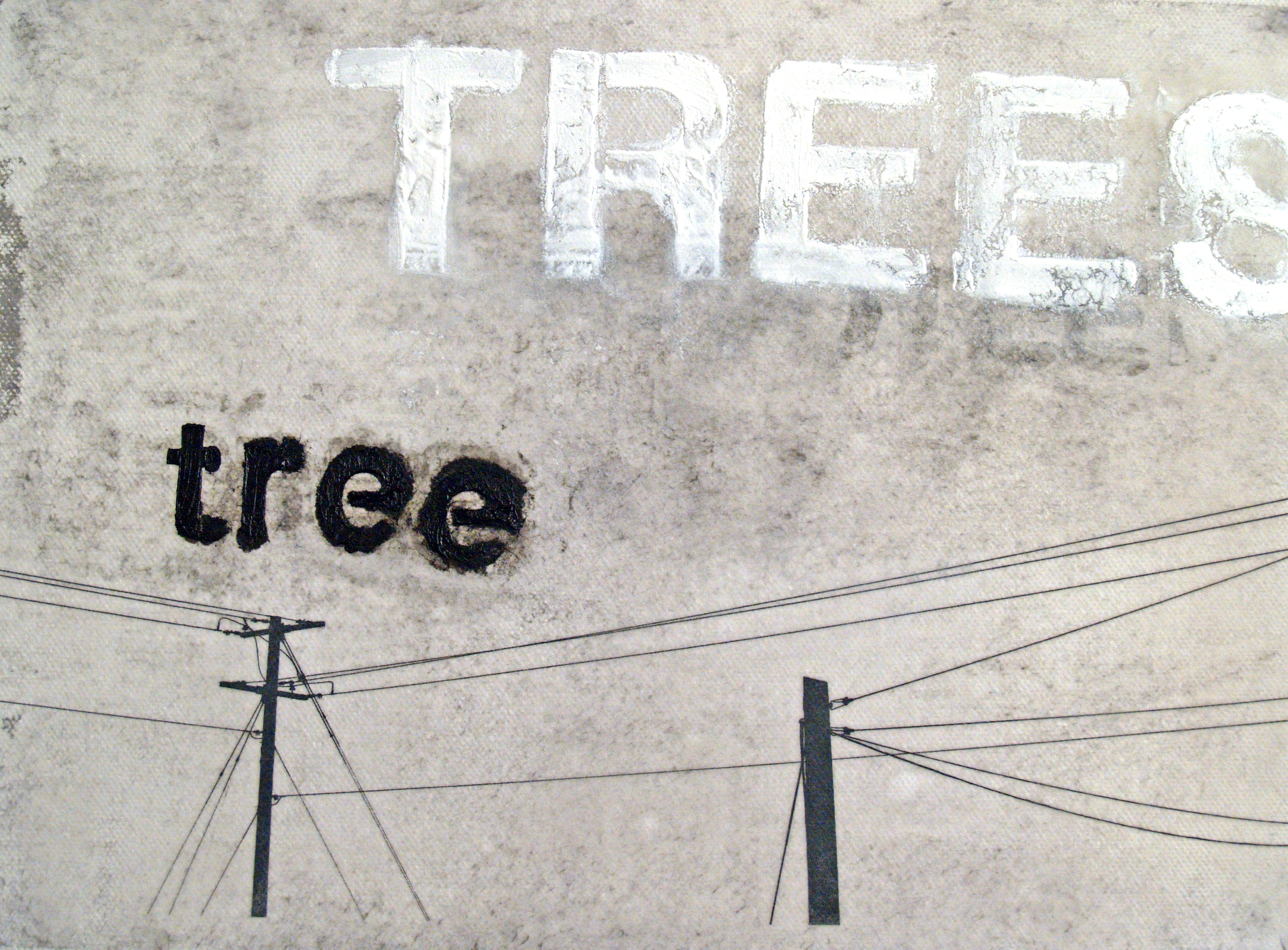 Encroaching City Series - Trees, oil, mixed media on canvas - 12c12 inches