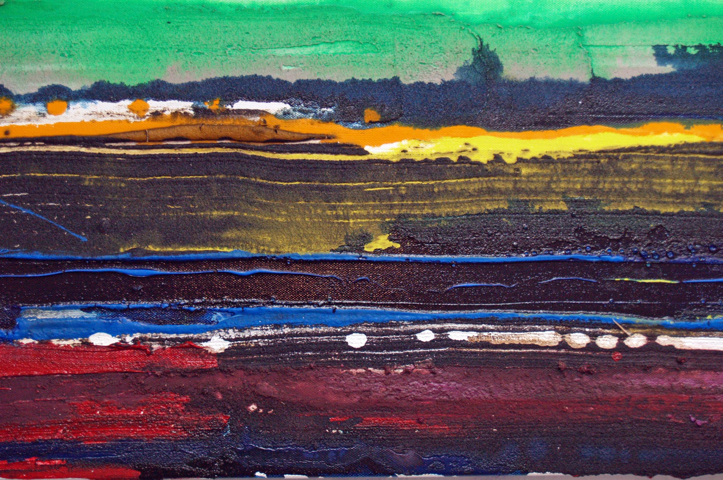 oil, acrylic, enamel, mixed media on canvas