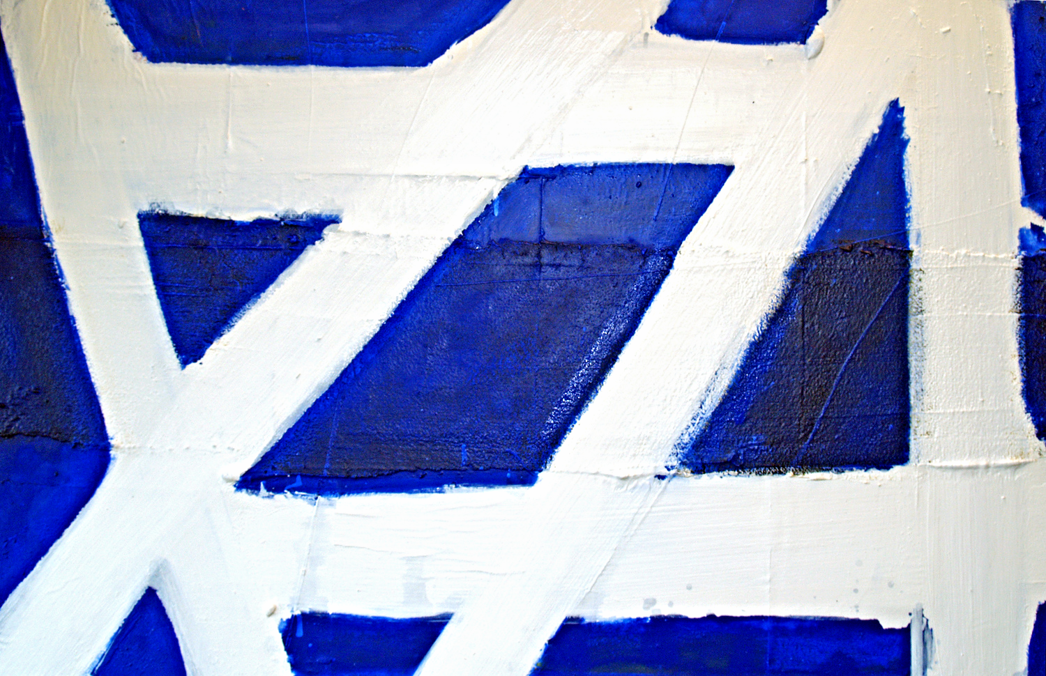 Disorder in White and Blue / Oil, enamel, paper, asphalt on canvas / 30 x 40 inches