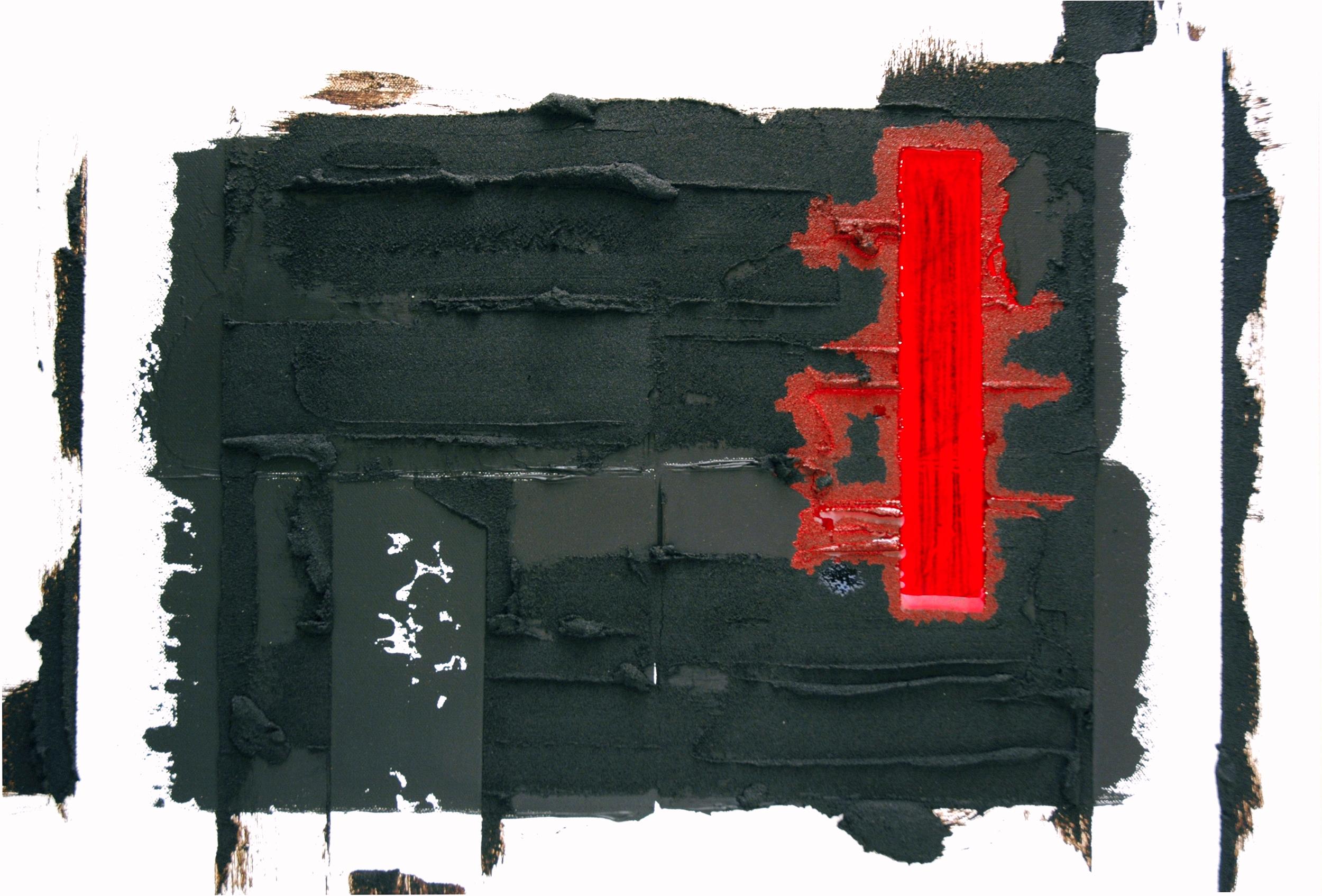 Oil, acrylic, asphalt on canvas / 18 x 24