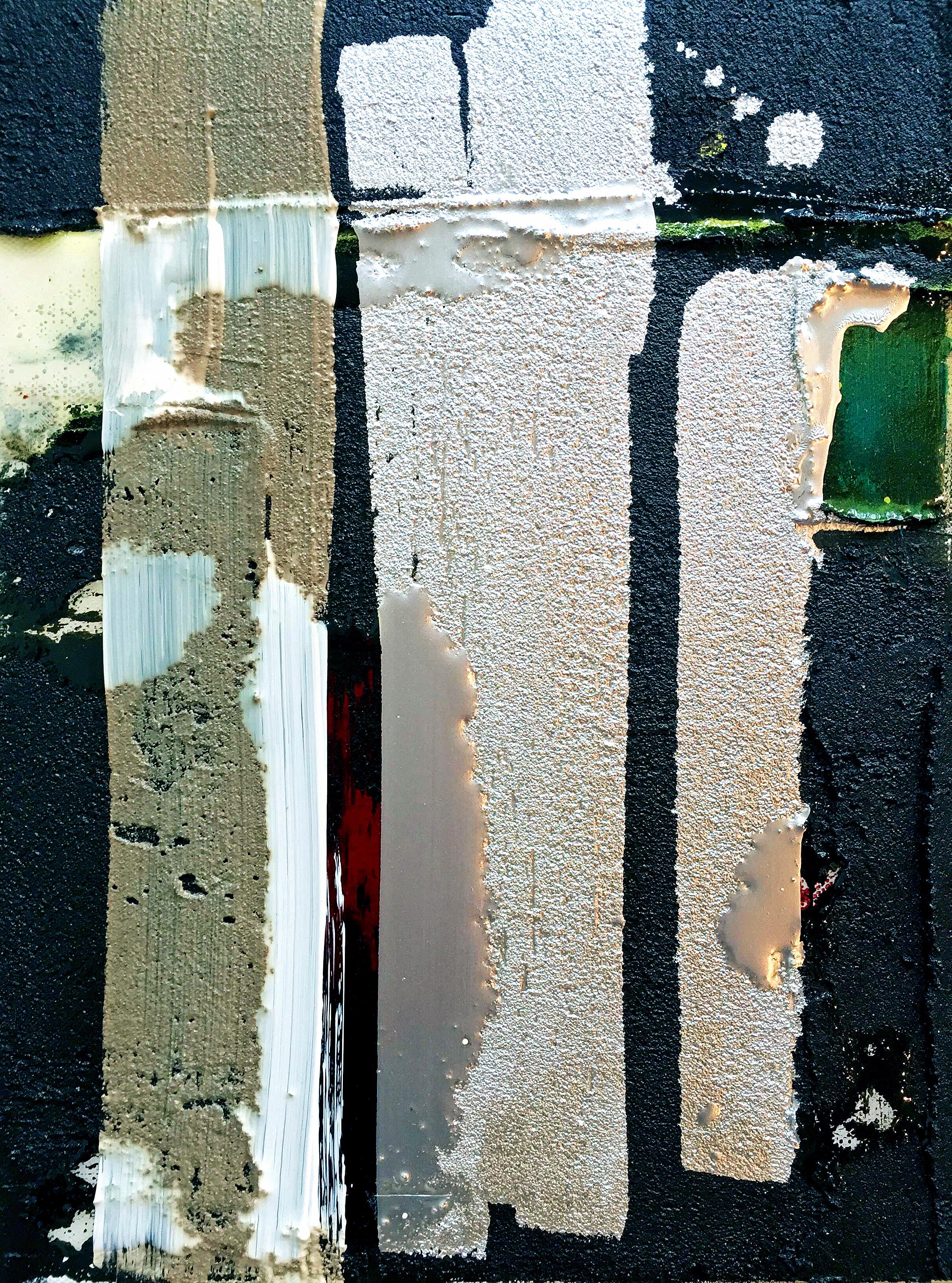 Mixed Media / Divergence XXXI /Oil, aluminum paint, asphalt, resin on canvas / 11 x 14 inches
