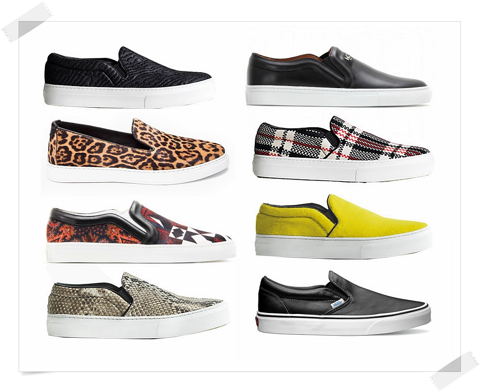 Kurt Geiger  quilted leather |  Givenchy  leather   FFShop24  leopard |  Celine  checked   Givenchy  satin and leather print |  Celine  neon yellow pony hair   Celine  snakeskin |  Vans  leather