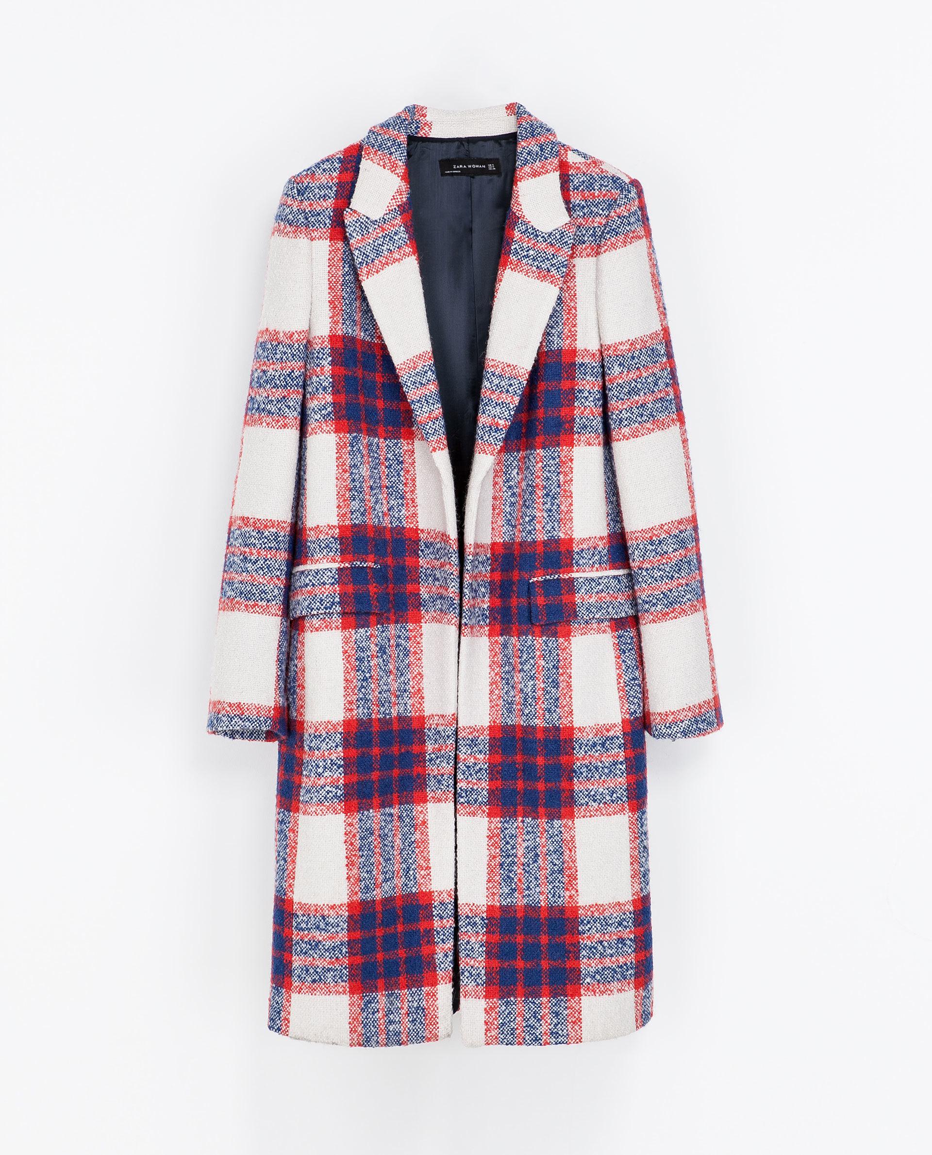 Checked Coat by  Zara