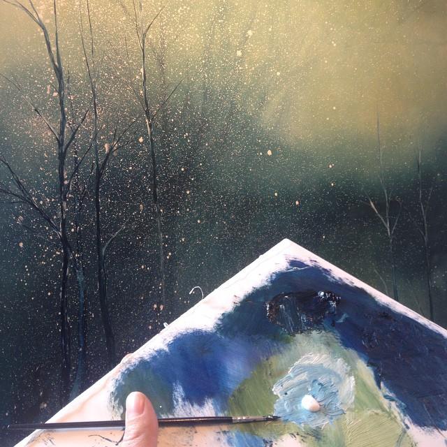 Janina Stoor skaparMidvinterglödinspirerad tavla som finns med på Midvinterglöd 13 December 2014!