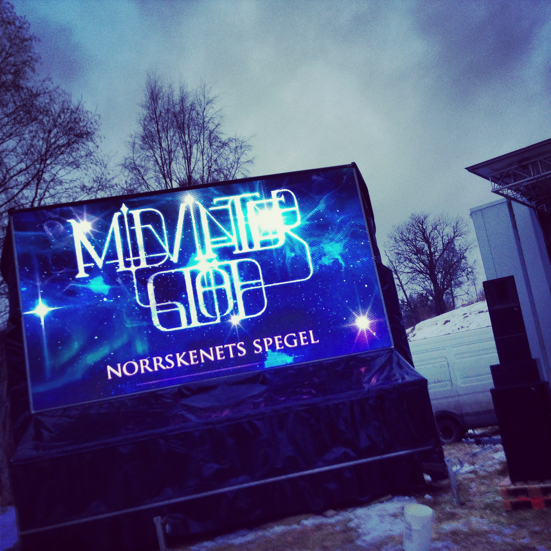 Annonsera på storbildsskärm som används under Midvinterglöd.Storbildskärmen är konstruerad av  ProStage.se
