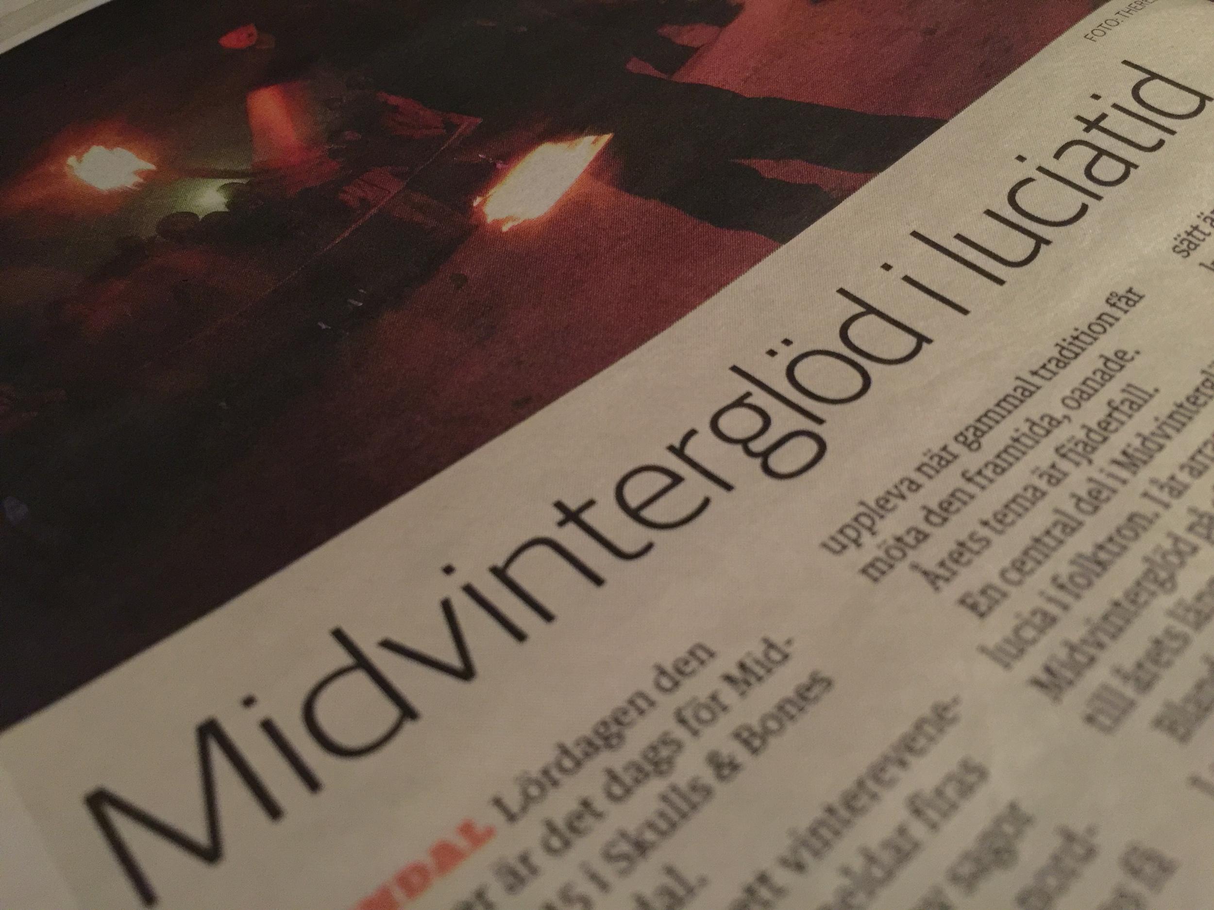Tidningen HudikNytt skriver om Midvinterglöd 2015 - Fjäderfall (nr. 10,22 November)