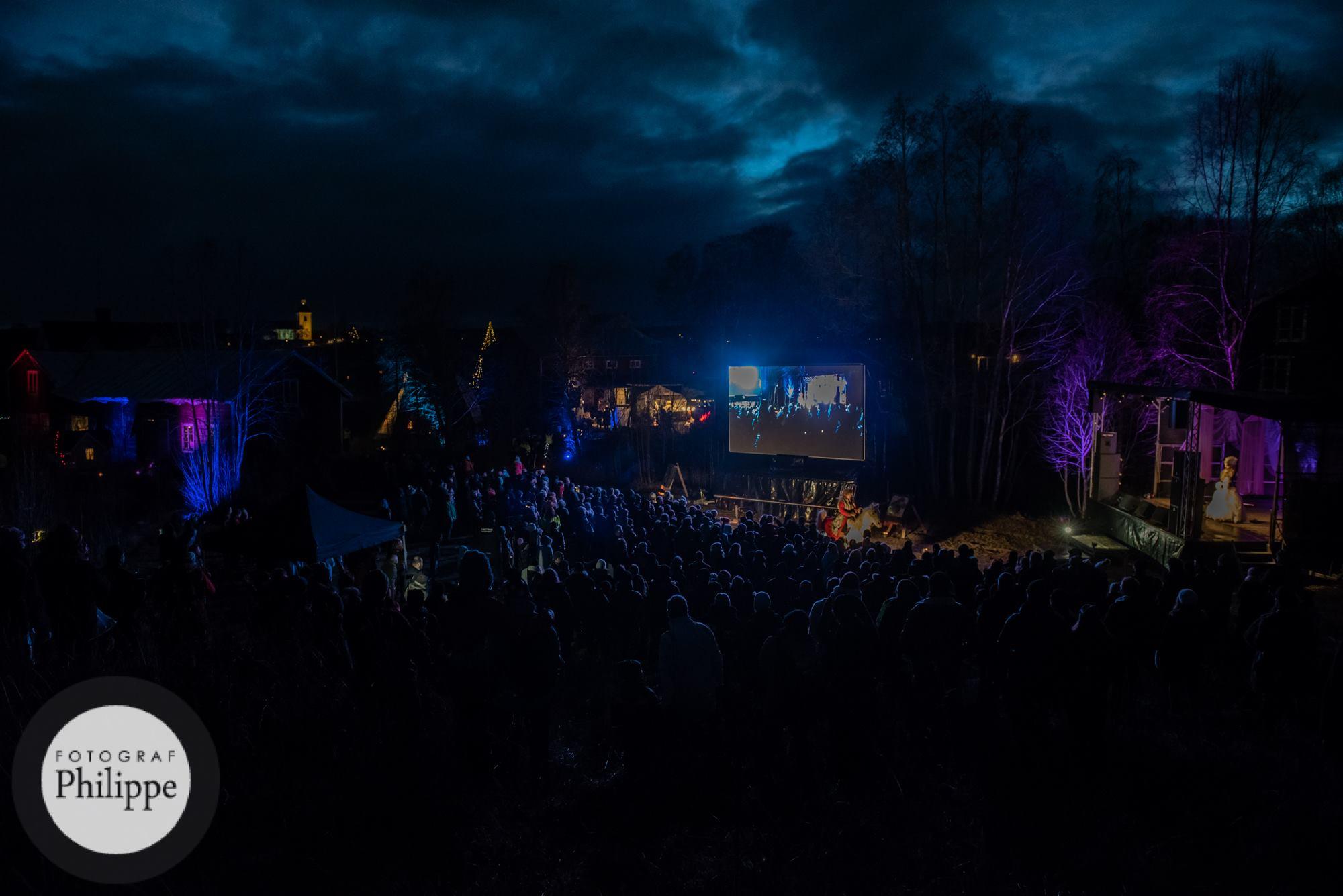 Midvinterglöd 2015, Fjäderfall hos Skulls & Bones Artwork i Jättendal, Hälsingland. Över 1600 personer firade tillsammans glöden i midvintertid. Foto: Philippe Rendu