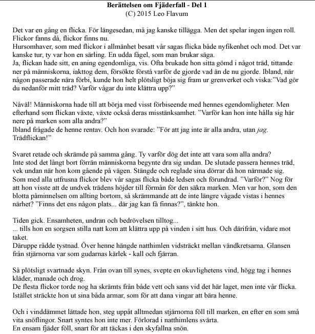 Leo Flavum -Första delen av manuskriptet till scenberattelsen ur Midvinterglöd 2015 – Fjäderfall