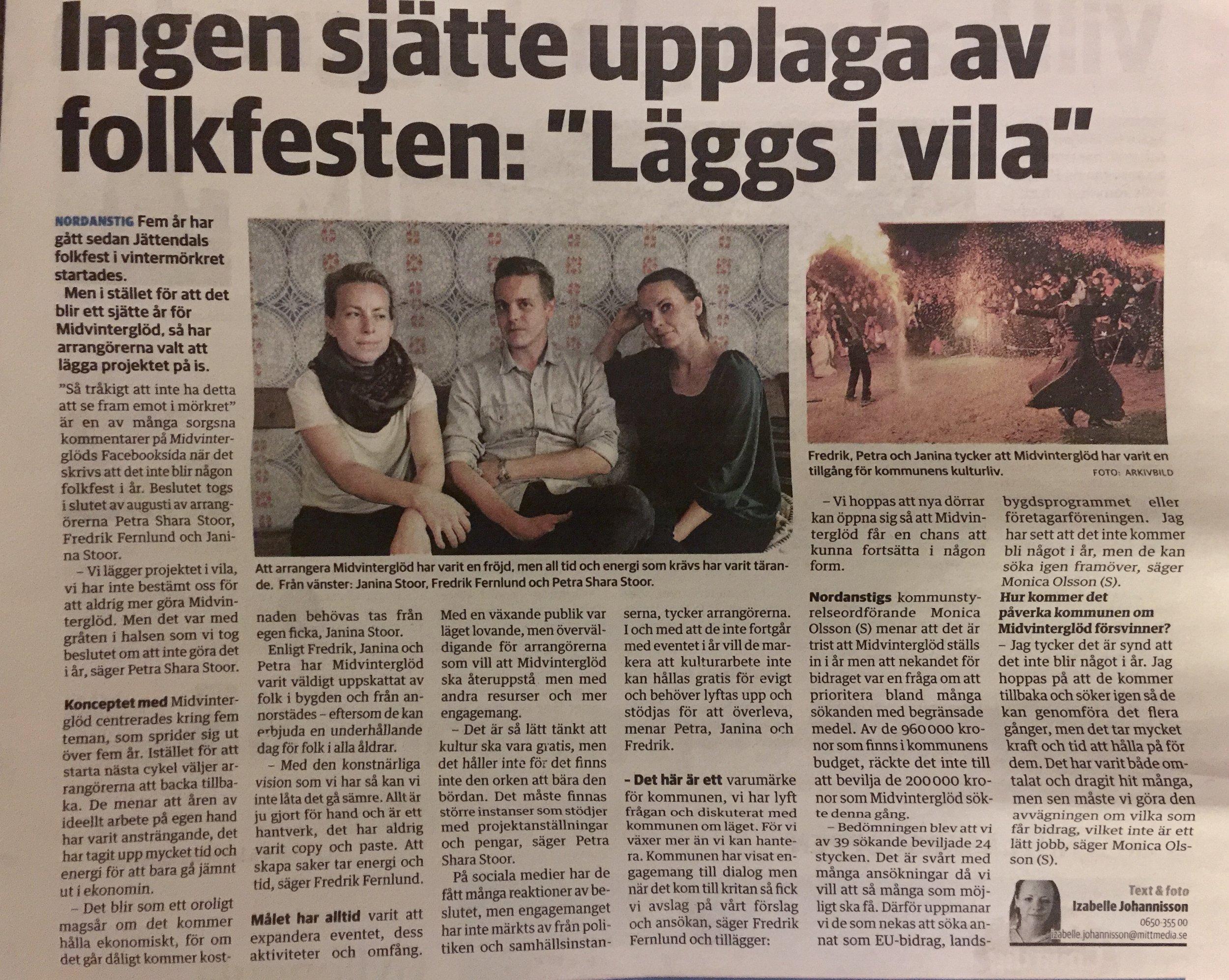 Artikeln om Midvinterglöd från Hudiksvalls tidning (HT)