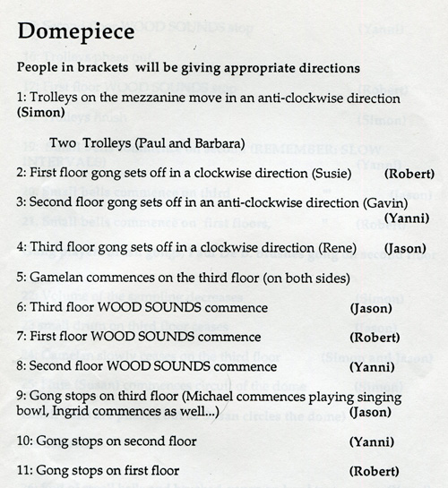The first section of Domepiece. It begins with sound of trolleys circling the dome on the metal corridors.