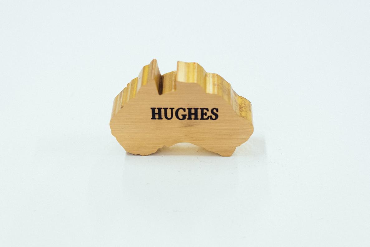 Robert Hughes , Found brass with etching, 2015