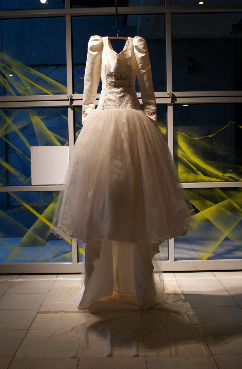 Walter Benjamin , Found wedding dress with embroidery, Homage exhibition, Food Court Gallery, 2015