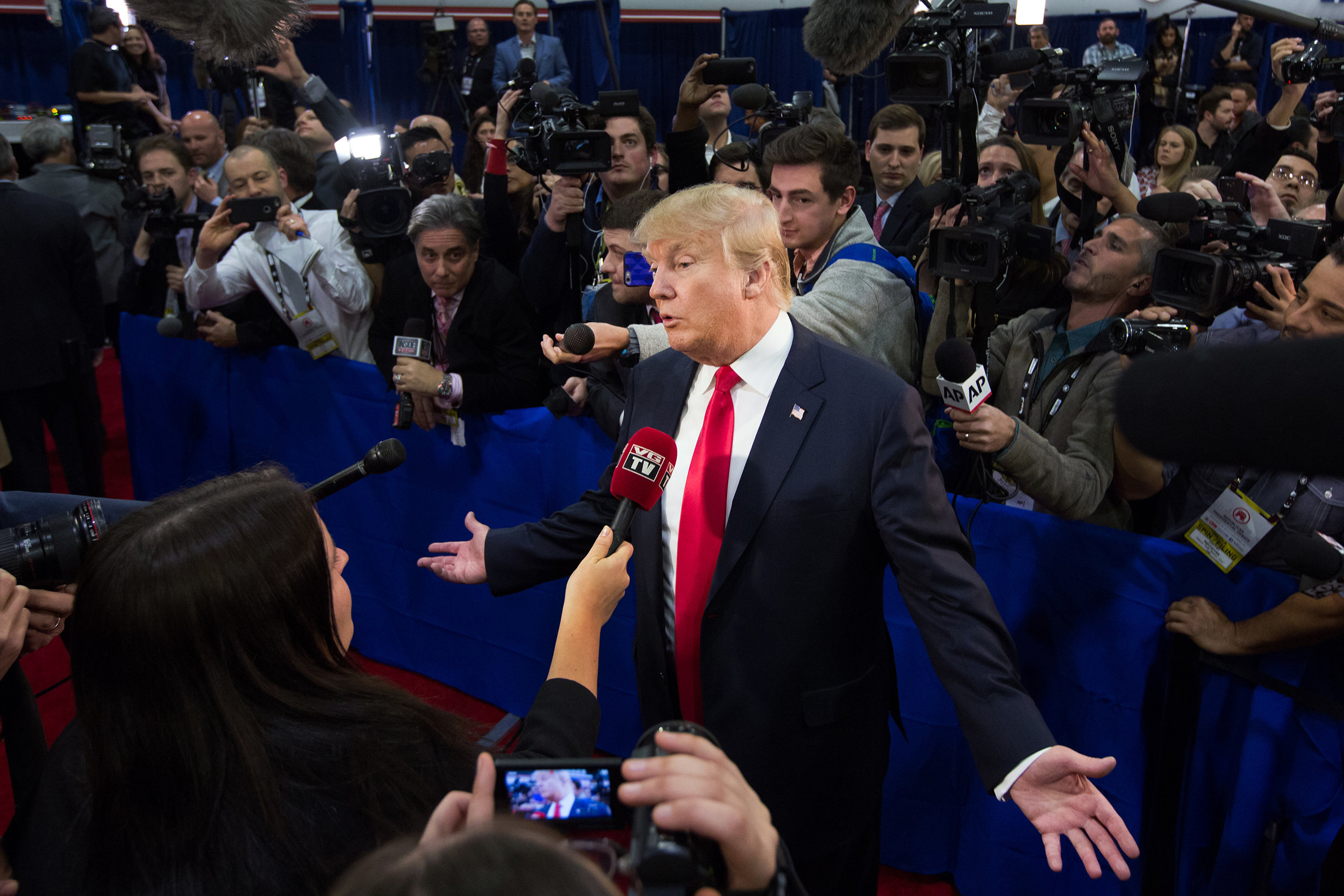 Donald Trump speaking to reporters after a presidential GOP debate in Las Vegas.