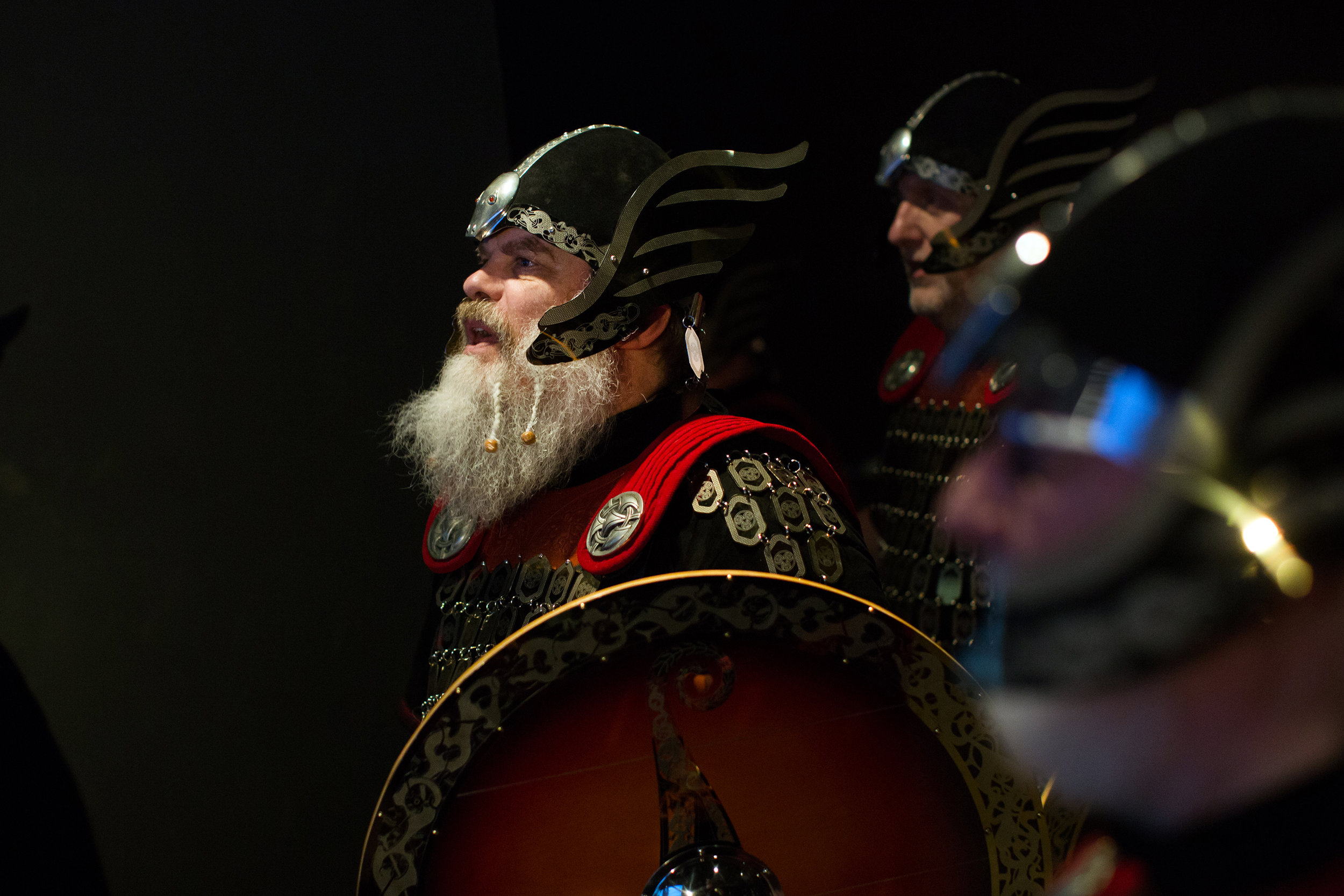 Tim Coote, a member of the Jarl Squad from the Shetland Islands dressed up as a viking at the Discovery Times Square Museum exhibition 'Vikings'  as part of the Tartan Week festivities.