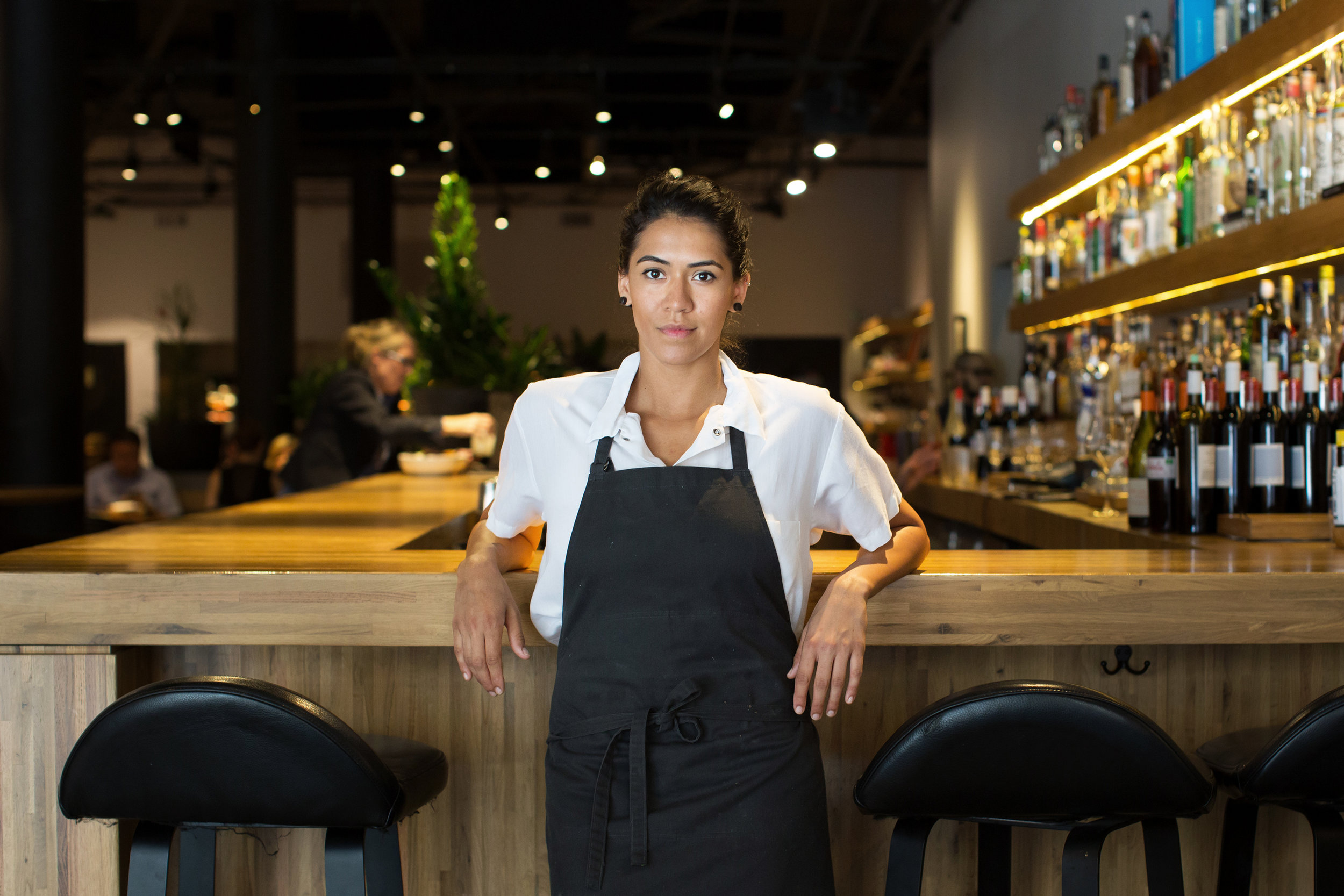 25 Year old executive chef Daniela Soto-Innes standing for a portrait at Cosme, a Mexican restaurant in Manhattan.