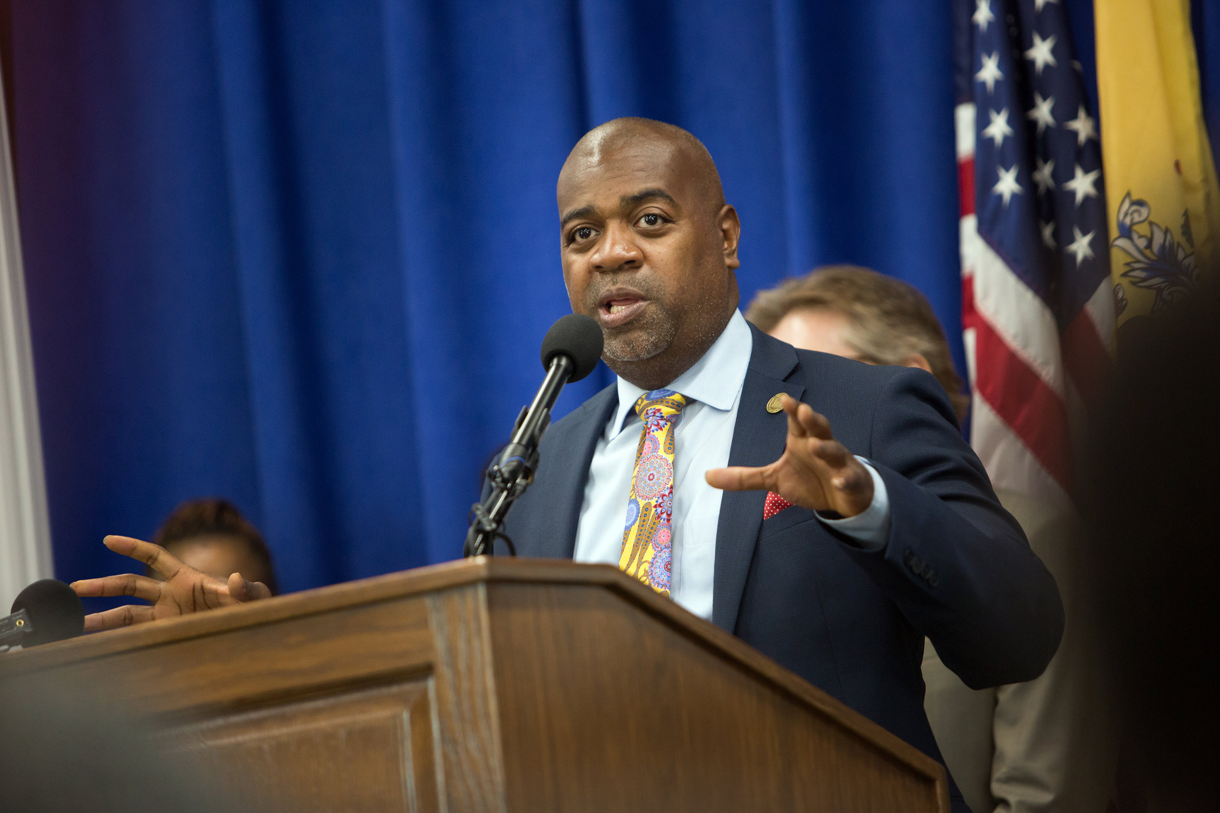Newark mayor Ras J. Baraka speaking during a press conference where the mayor and school leaders announced steps to return local control of the schools.