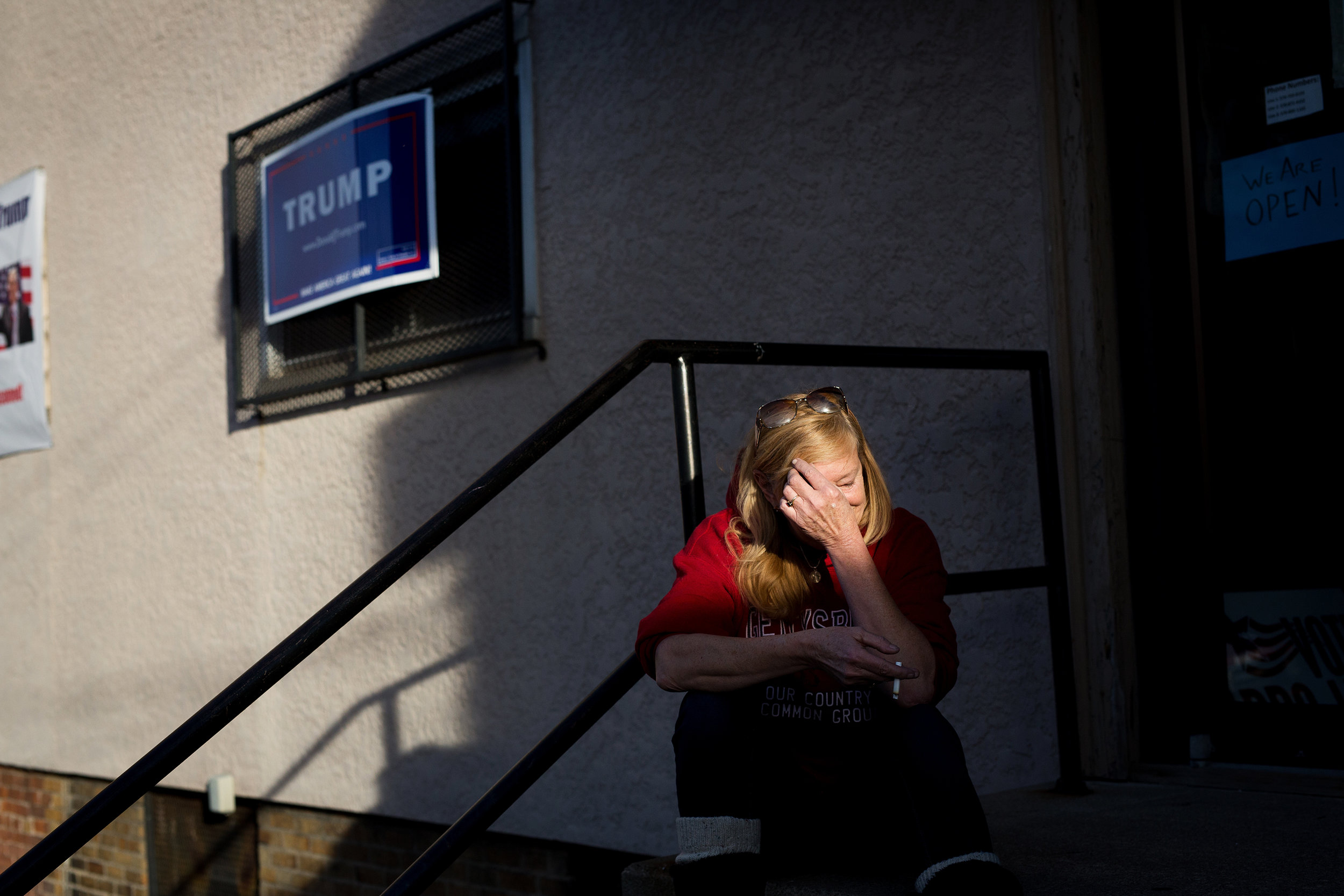 Trump supporter Patti Puorro awaiting election results outside a Donald Trump volunteer center in Scranton, Pennsylvania.