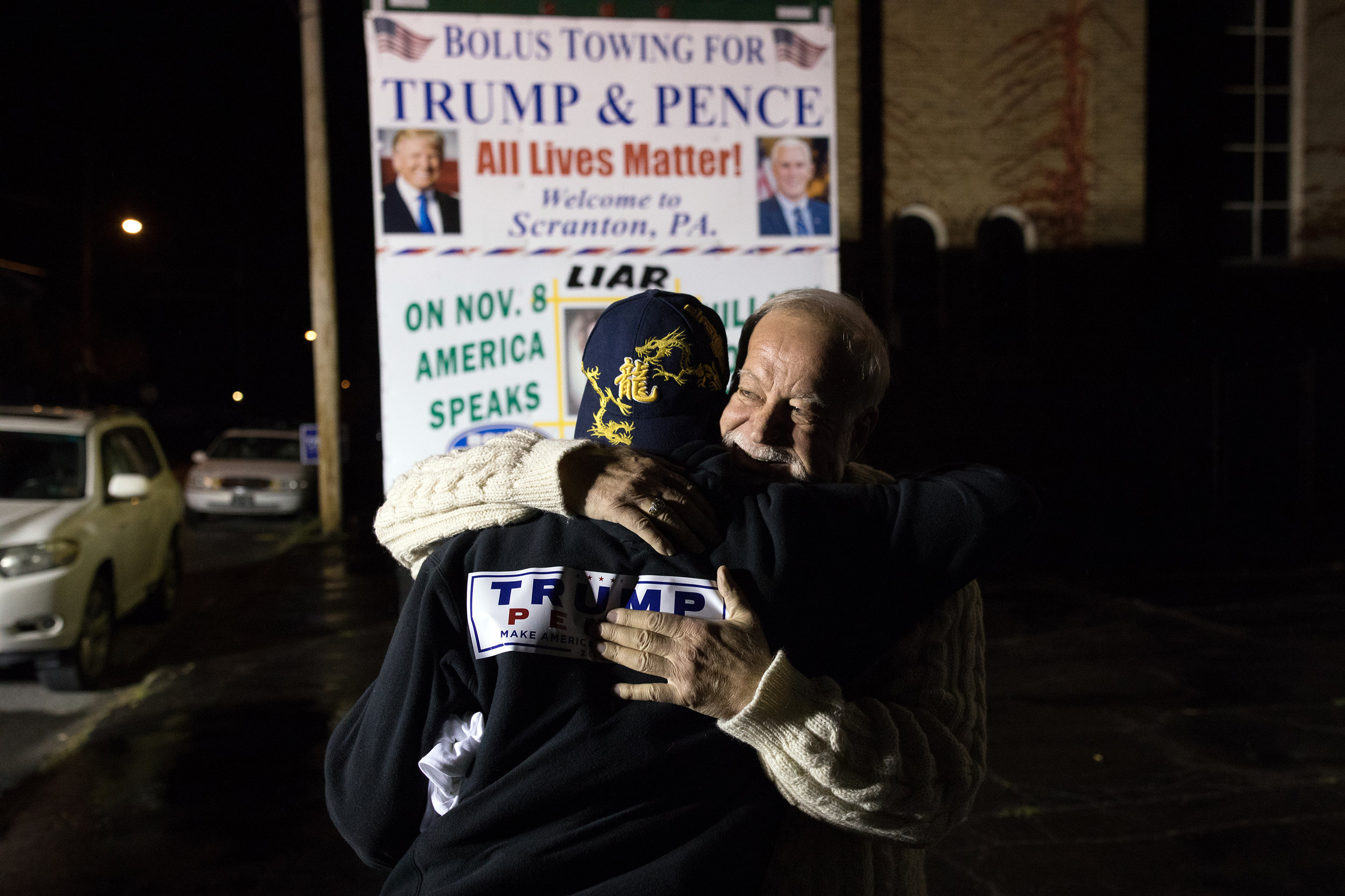 Donald Trump supporter Bob Bolus greeting a fellow supporter on election night outside a Trump volunteer center in Scranton, Pennsylvania.