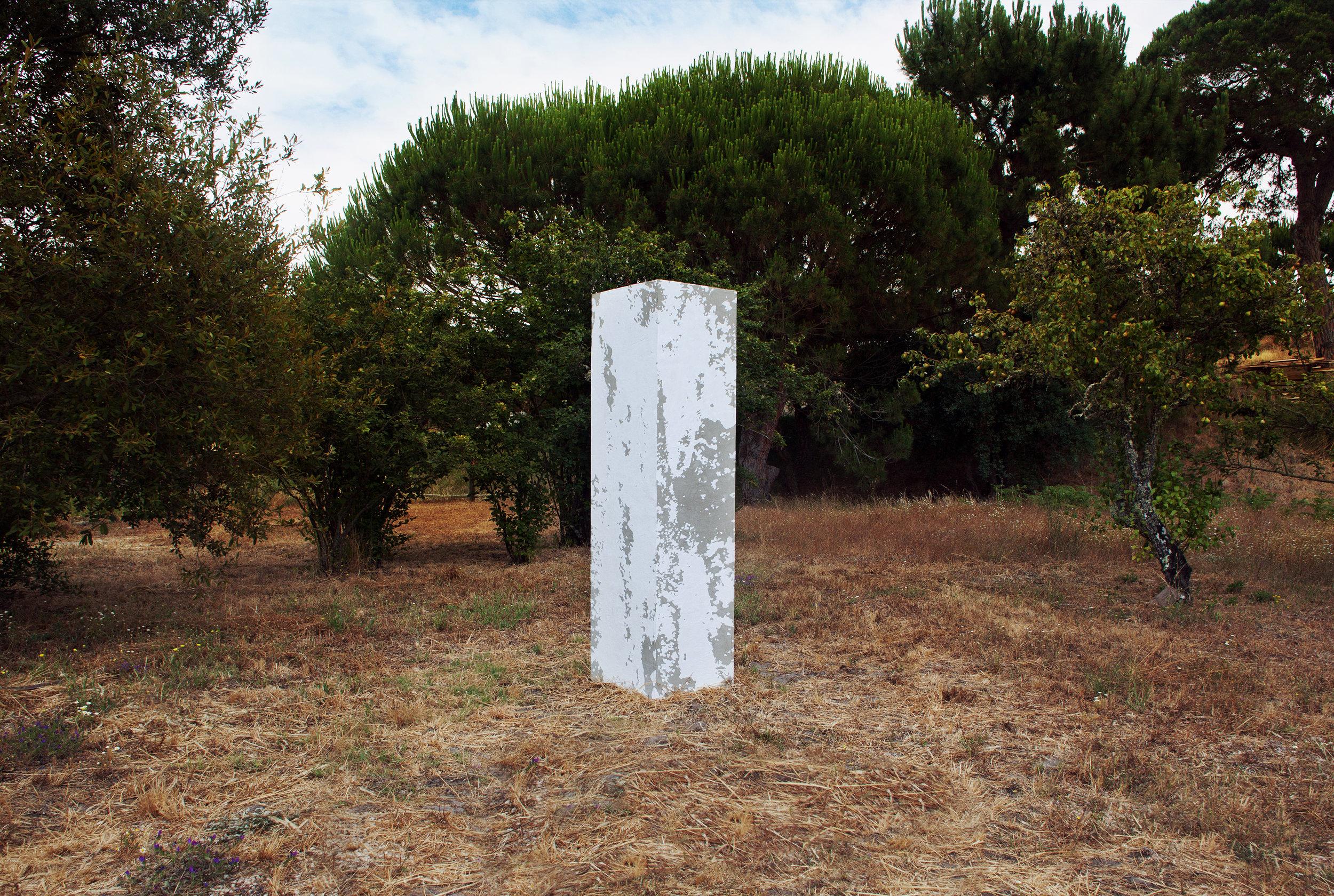 Pedro Matos  Even If No One Else Comes , 2015 Plywood, Cement, Acrylic 201,5 x 51,5 x 51,5cm Photo: Pedro Matos