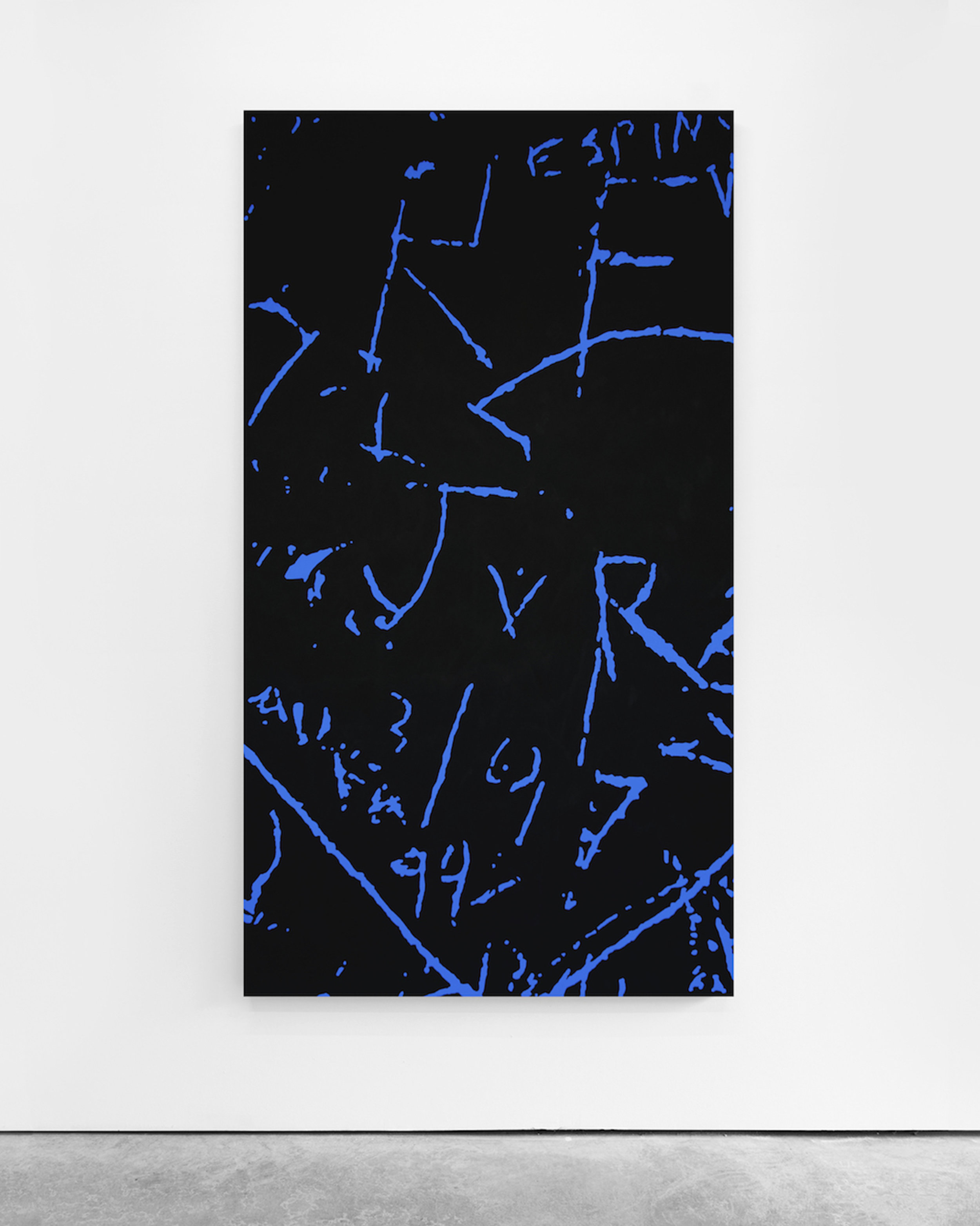 Pedro Matos  Untitled (JxR) , 2018 Acrylic enamel on canvas 180 x 100 cm