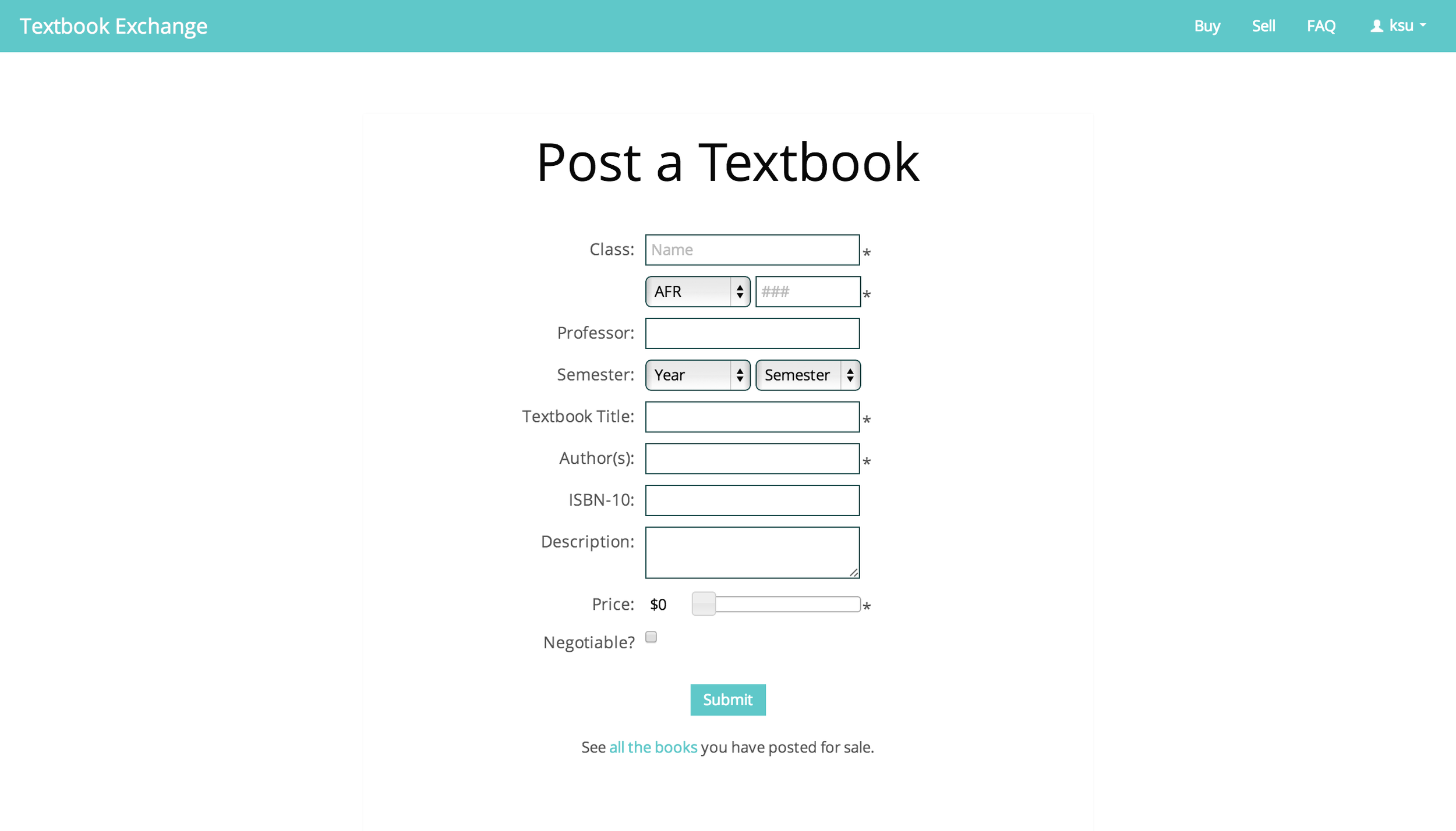 Selling: users can put a textbook up for sale within a minute