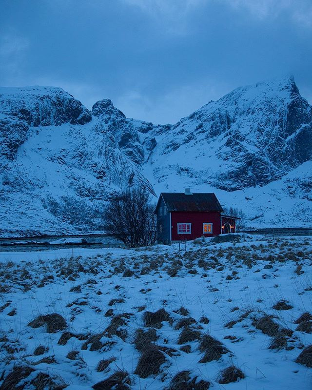 Nothing but the sound of snow. . . . #bluehour #25bluehours #norway #lofoten #travelphotography #travelgram #cabinlife