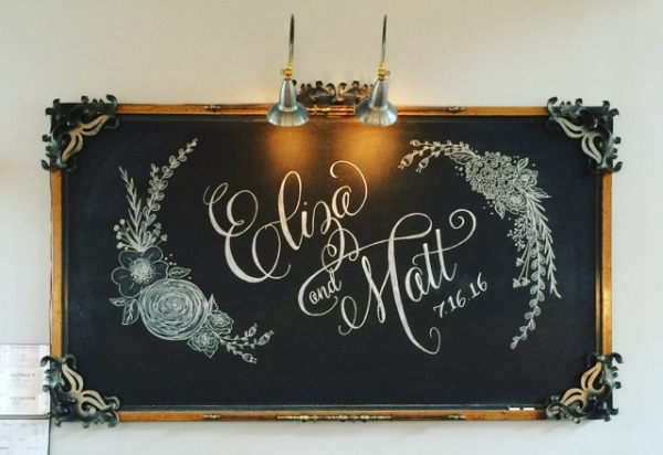 Custom illustration and font replication for a wedding reception at The Cotton Room