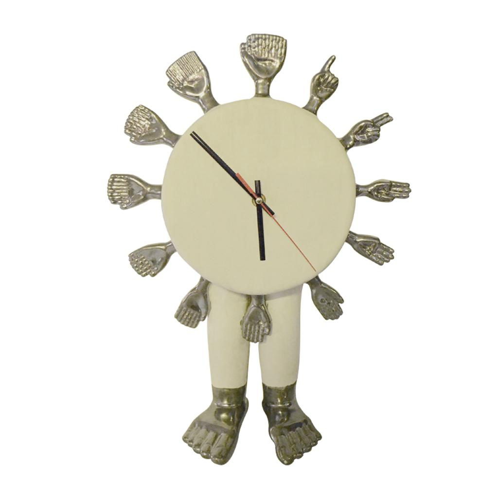 Reloj   Elaborado en cerámica de alta temperatura con baño de oro de 22k.  Tamaño: 43 cm x 30 cm. x 10 cm.  Colores: Estilo marmoleado con baño de oro blanco.