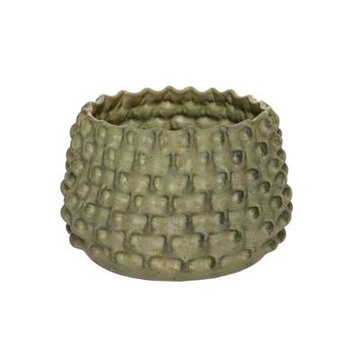 Gustavo Pérez. Florero elaborado en cerámica de alta temperatura. Con esmalte color verde.
