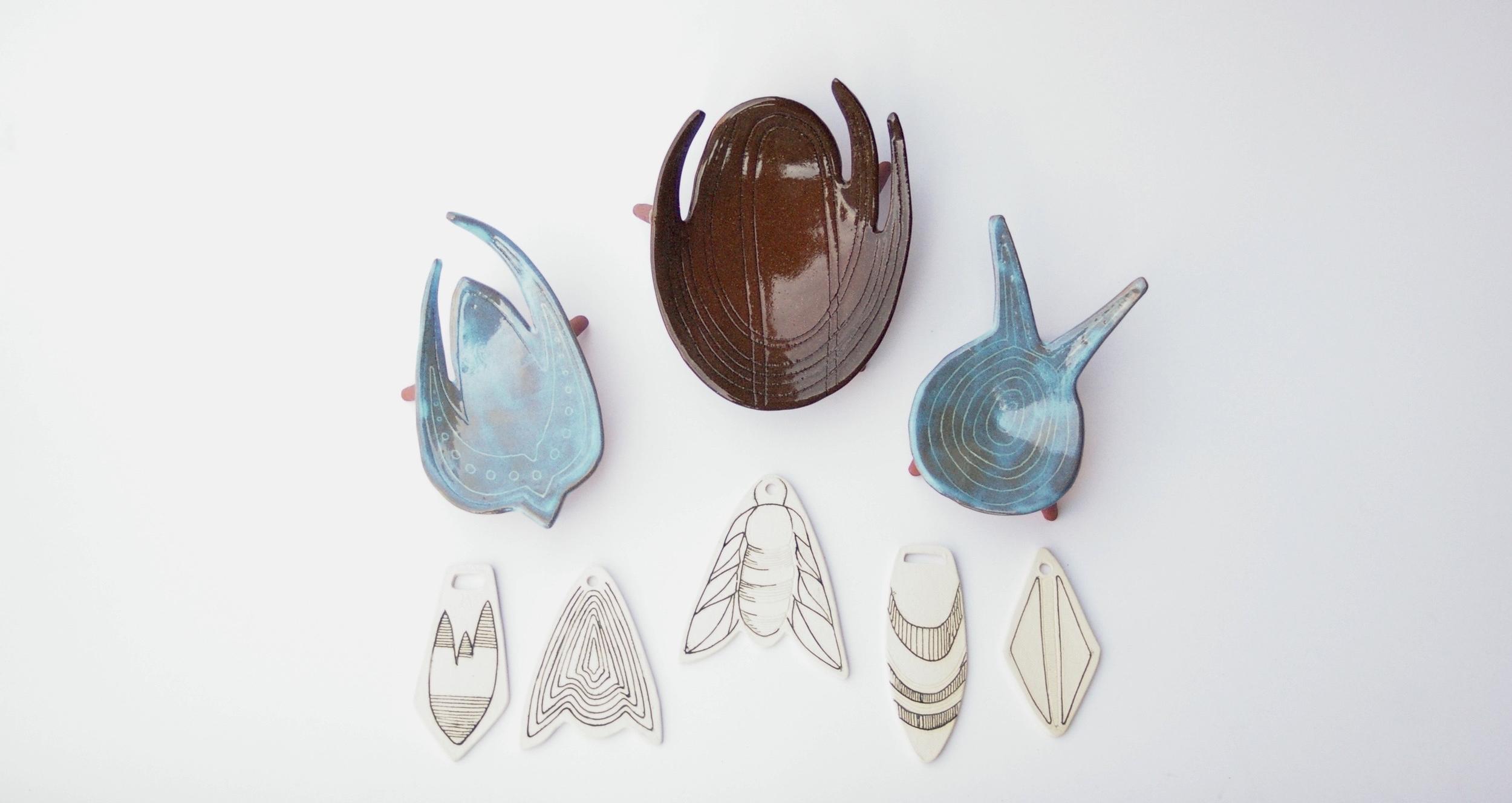 ring dishes & reversible pendants