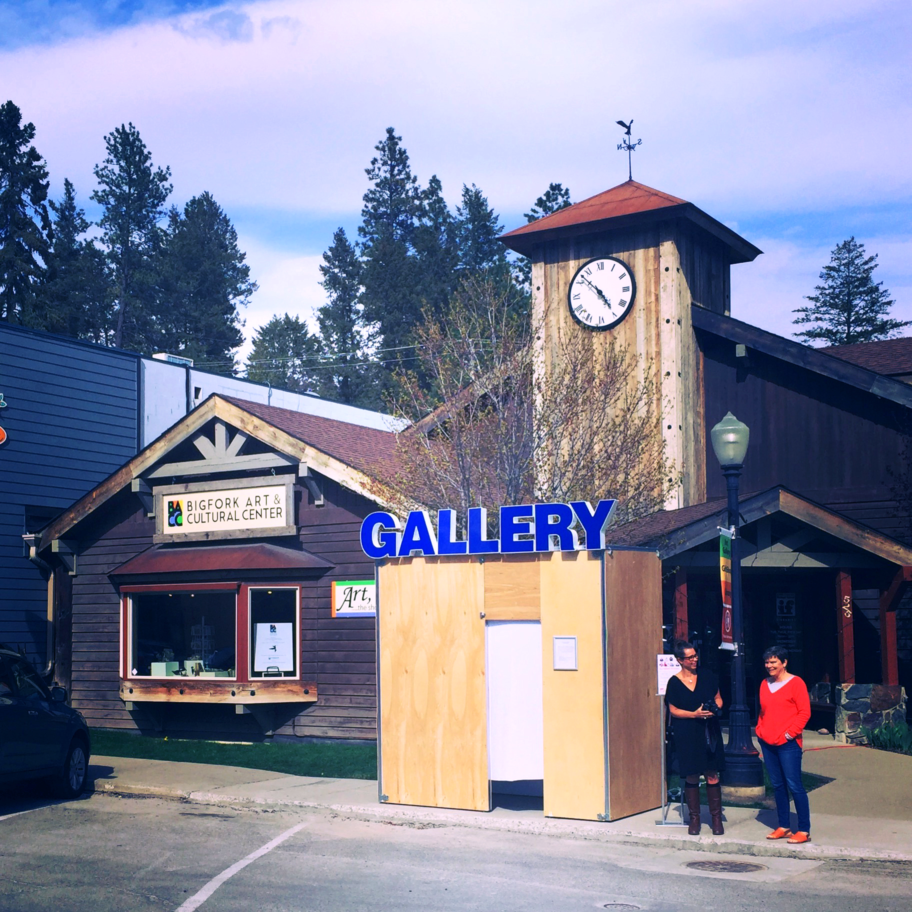 GALLERY 2S  (at ImagineIF Libraries with Kylin O'Brien on site in Big Fork, MT); wood, metal studs, channel letter sign, LED lights; 4'W x 8'L x 8'H; 2018.