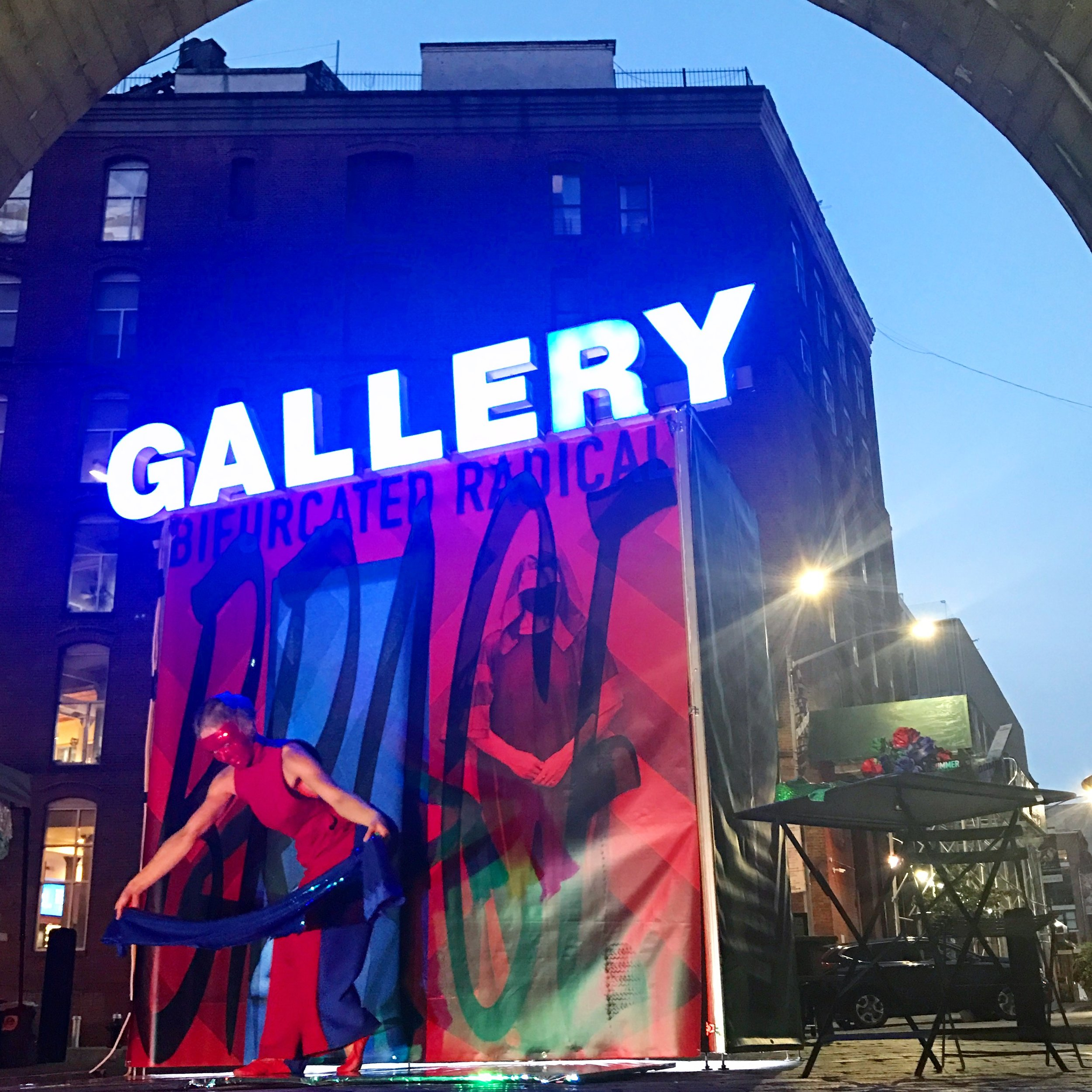 GALLERY 2  (at Live at the Archway with Patricia Brace, DUMBO, Brooklyn); wood, metal studs, channel letter sign, LED lights, exhibiting artist; 4'W x 8'L x 8'H; 2018.