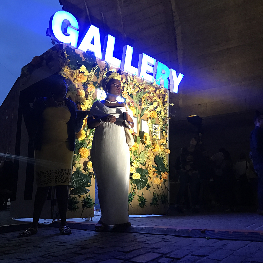 GALLERY 2  (at Live at the Archway with Chiquita Brujita, DUMBO, Brooklyn); wood, metal studs, channel letter sign, LED lights, exhibiting artist; 4'W x 8'L x 8'H; 2018.