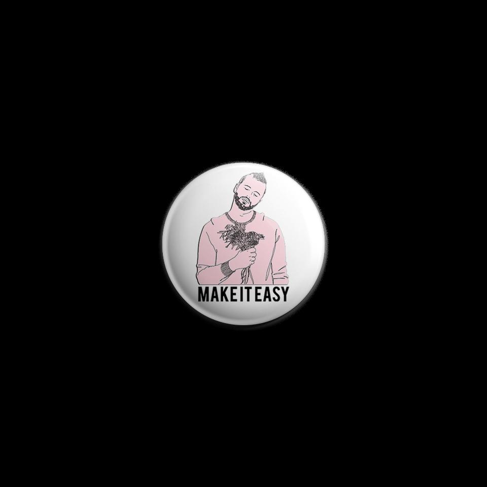 "Thomas Graff ""Make It Easy"" Pink Portrait Illustration Button by RoMillion $4"