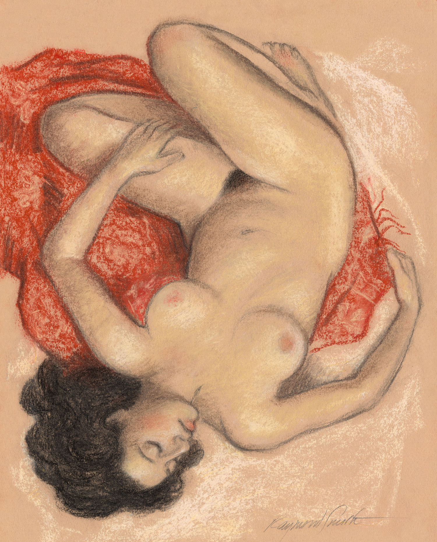 "Her Red Sarong     Graphite, Pastel & Charcoal   13"" X 10""   2008 Juried selection, Seattle Erotic Art Festival 2013"