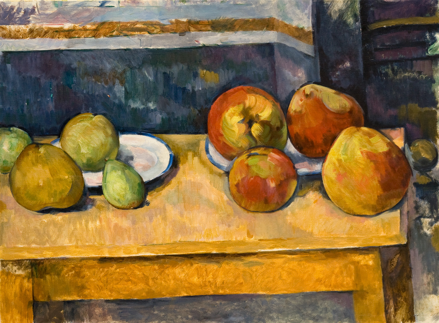 """Apples and Pears  after Paul Cezanné  Oil/canvas 19.5"""" X 25.5"""" 2005 Painted from the original at the Metropolitan Museum of Art, NY NY"""