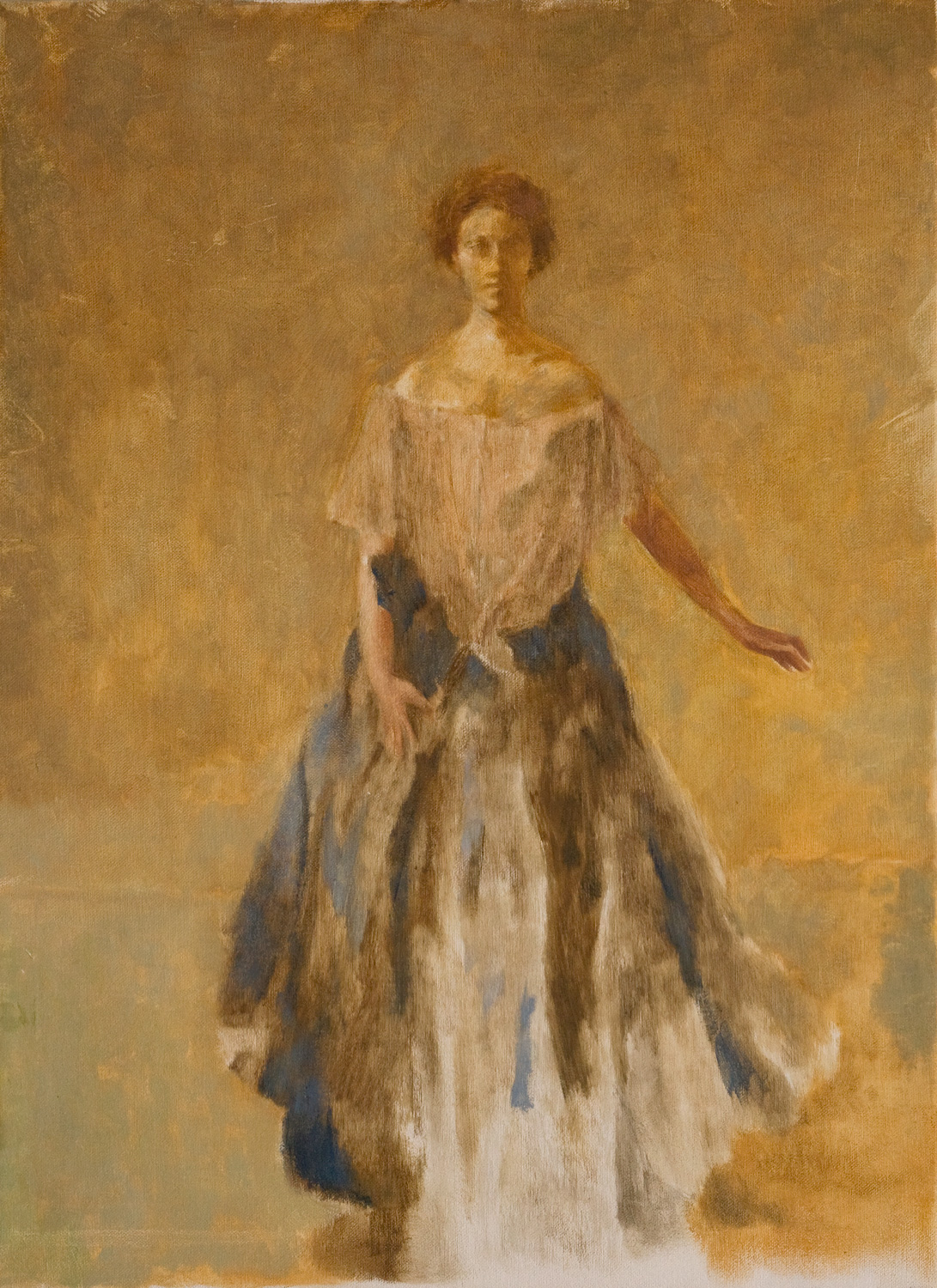"""The Blue Dress  after Thomas Wilmer Dewing  Oil/canvas 16"""" X 22"""" 2004 Painted from the original at the Freer Gallery of Art, Washington DC"""