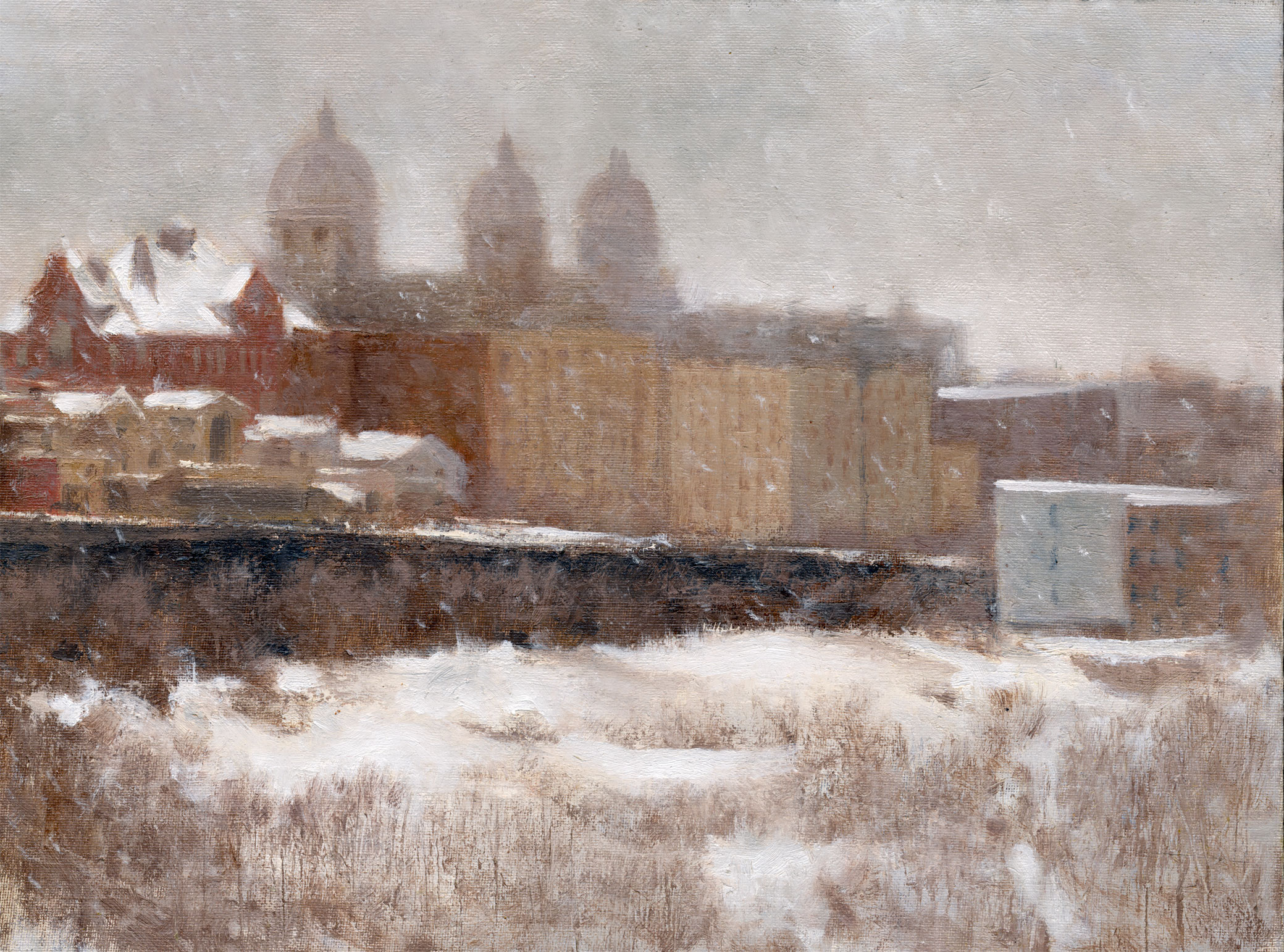 "Jersey City Heights, Winter     Oil/Panel   12"" X 16""   2016"