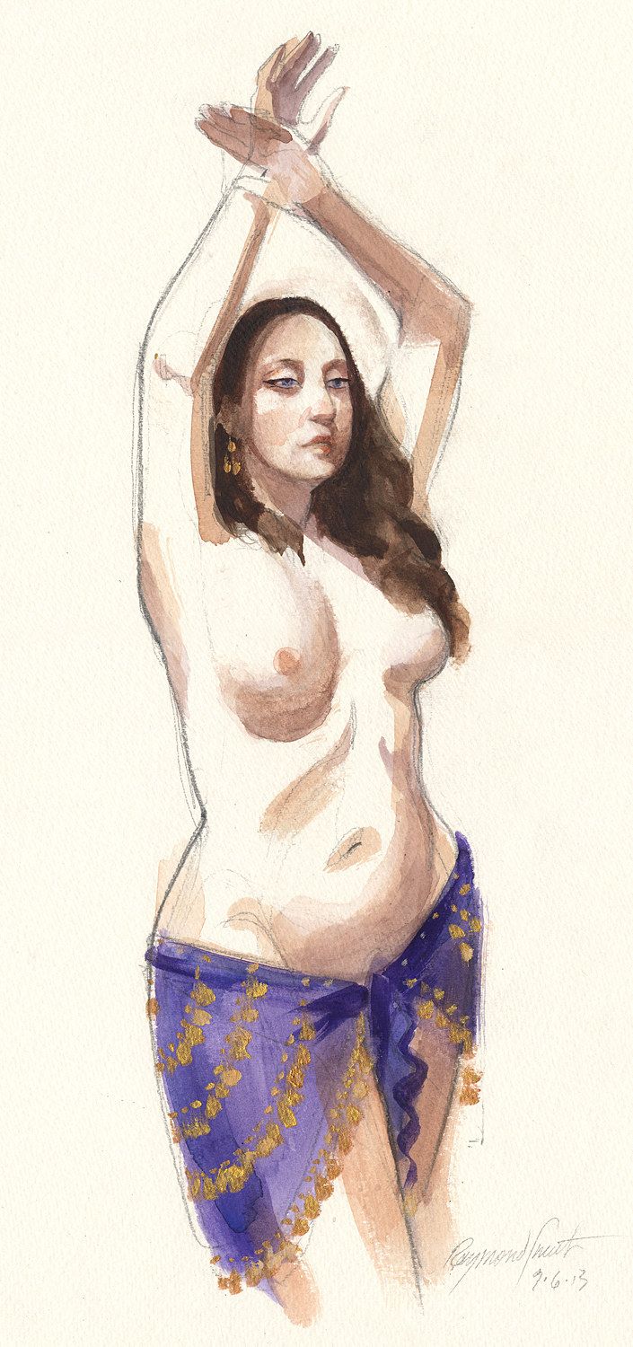 "Saige     Graphite & Watercolor   10"" X 15""   2013 Juried selection, Seattle Erotic Art Festival 2014"