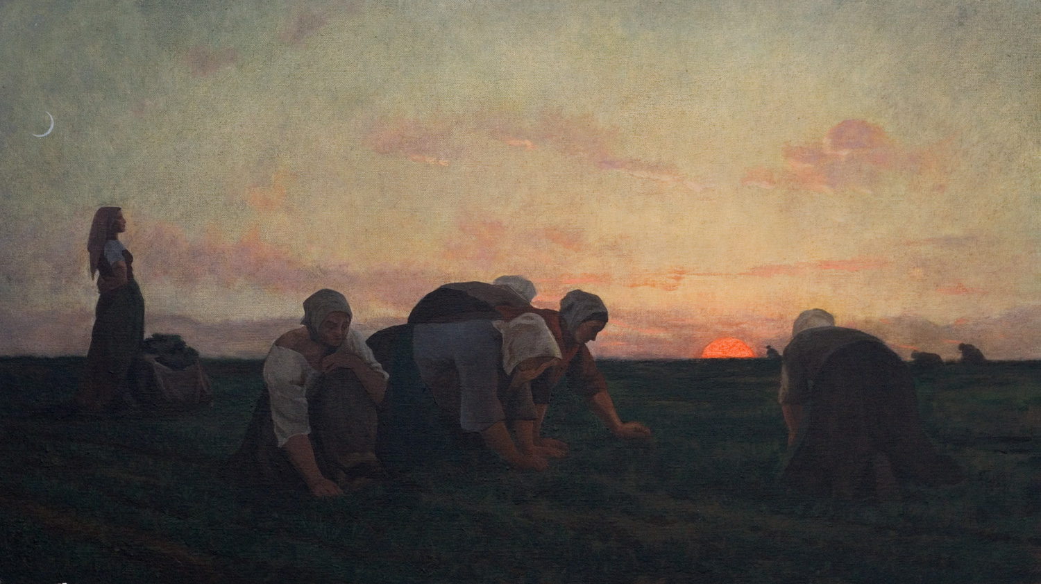 """The Weeders  after Jules Breton  Oil/canvas 16"""" X 28"""" 2003 Painted from the original at the Metropolitan Museum of Art, NY NY"""
