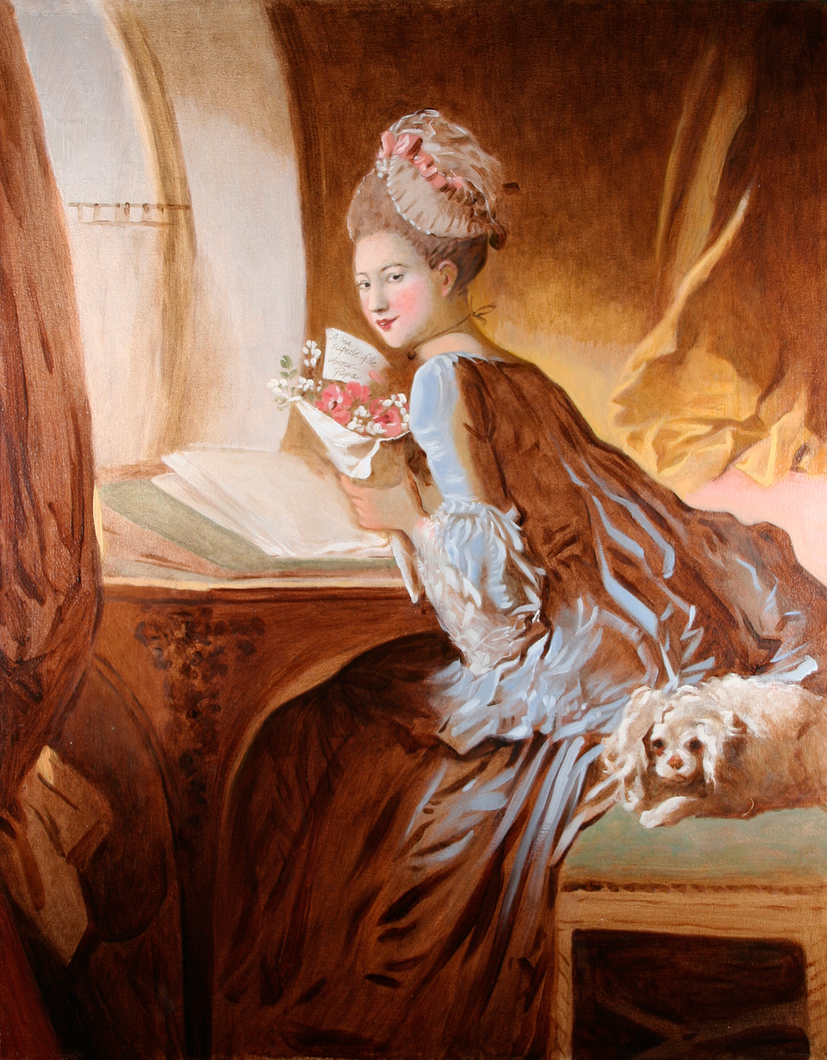 """The Love Letter  after Jean-HonoréFragonard  2003  Oil/canvas  22"""" X 28""""  Painted from the original at the Metropolitan Museum of Art, NY NY Collection of Valerie Smith"""