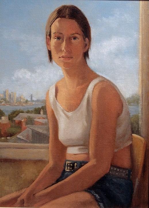 Katrinka at a window   Oil on panel  12 X 16  2007
