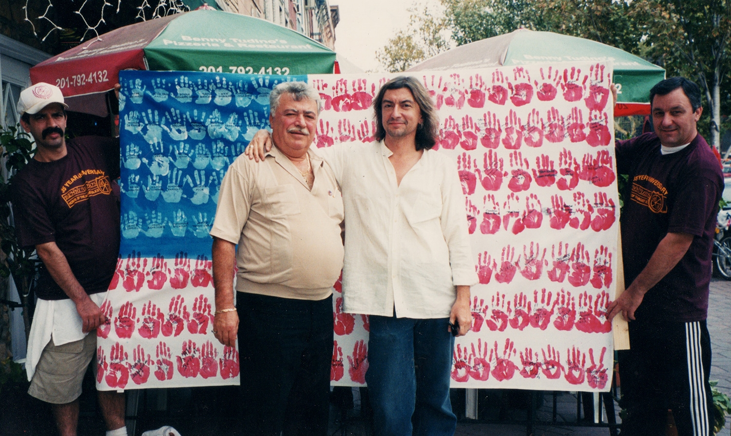 Benny Tudino and I with the second handprint flag I made and sent to Rome, Georgia as a thank-you for the one they sent to Hoboken.