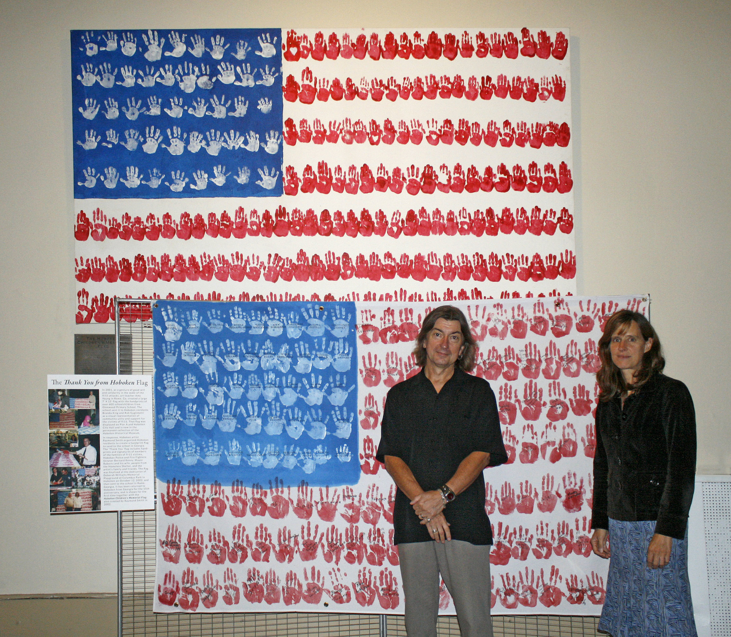 Mayor Zimmer and me with my two 9/11 handprint flags.