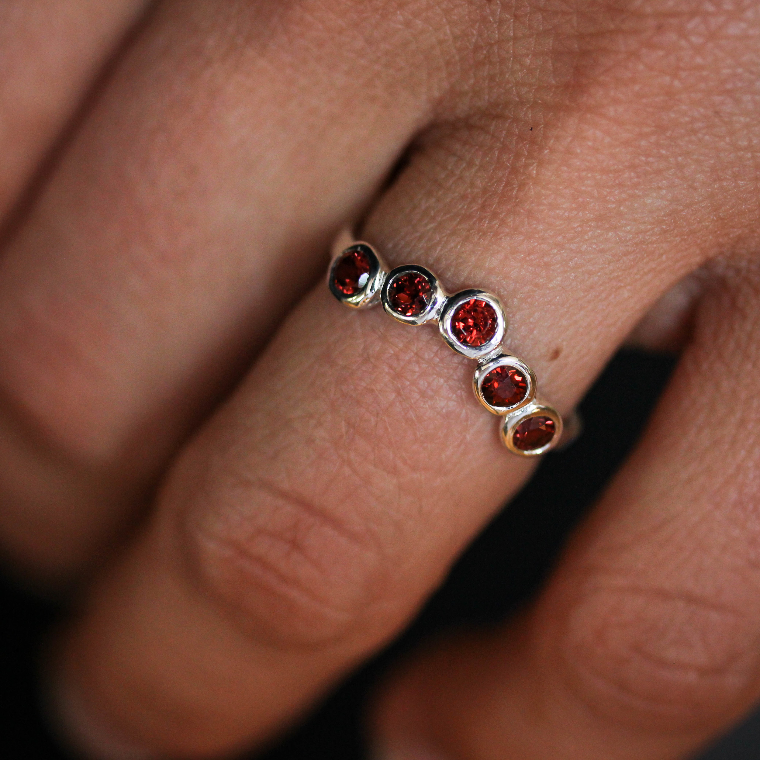 Sterling Silver and Garnet 5 Stone Wrap Wedding Band by Madelynn